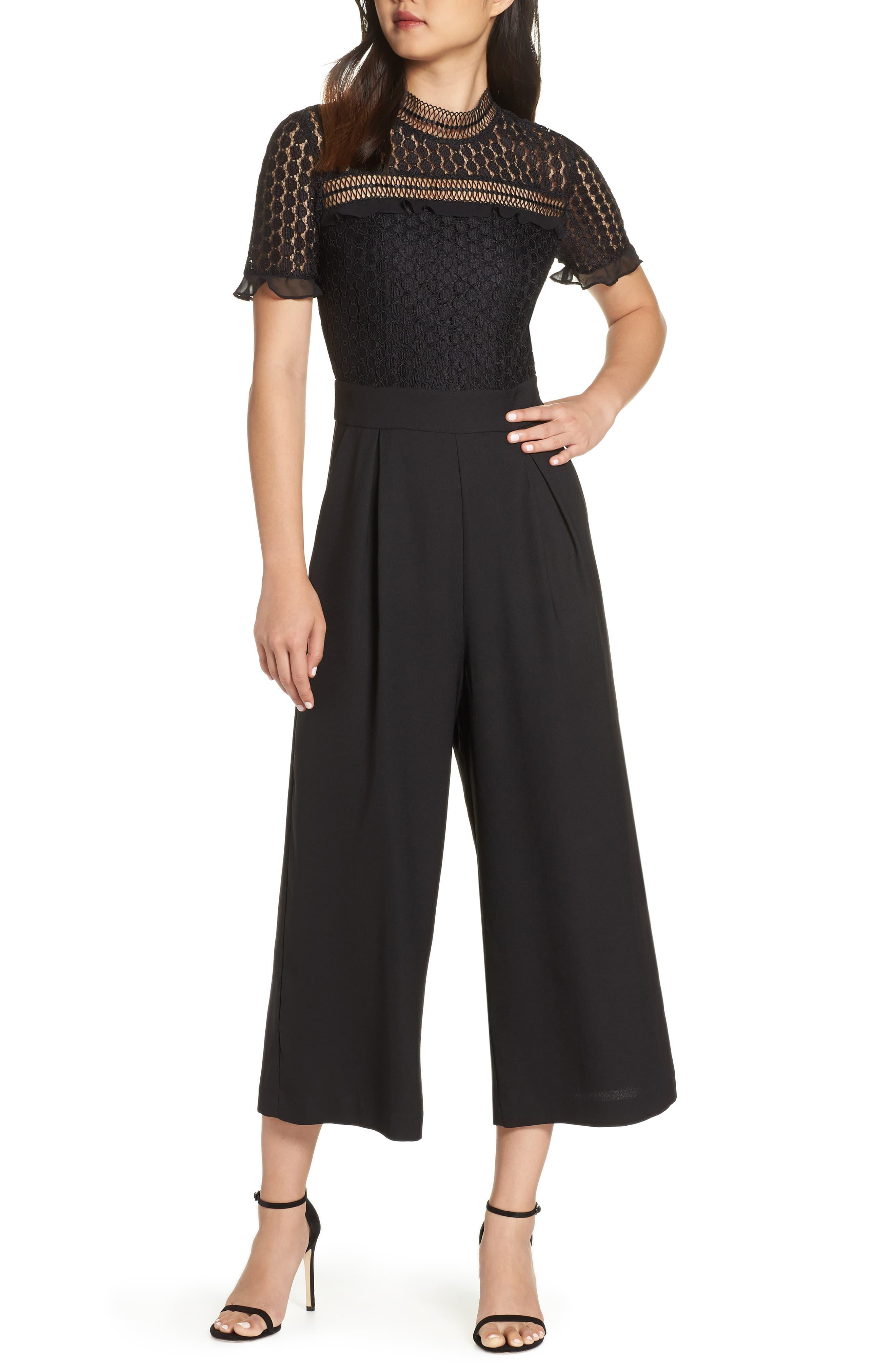 870ddc9aecfb Chelsea28 Lace Cropped Jumpsuit in Black - Lyst