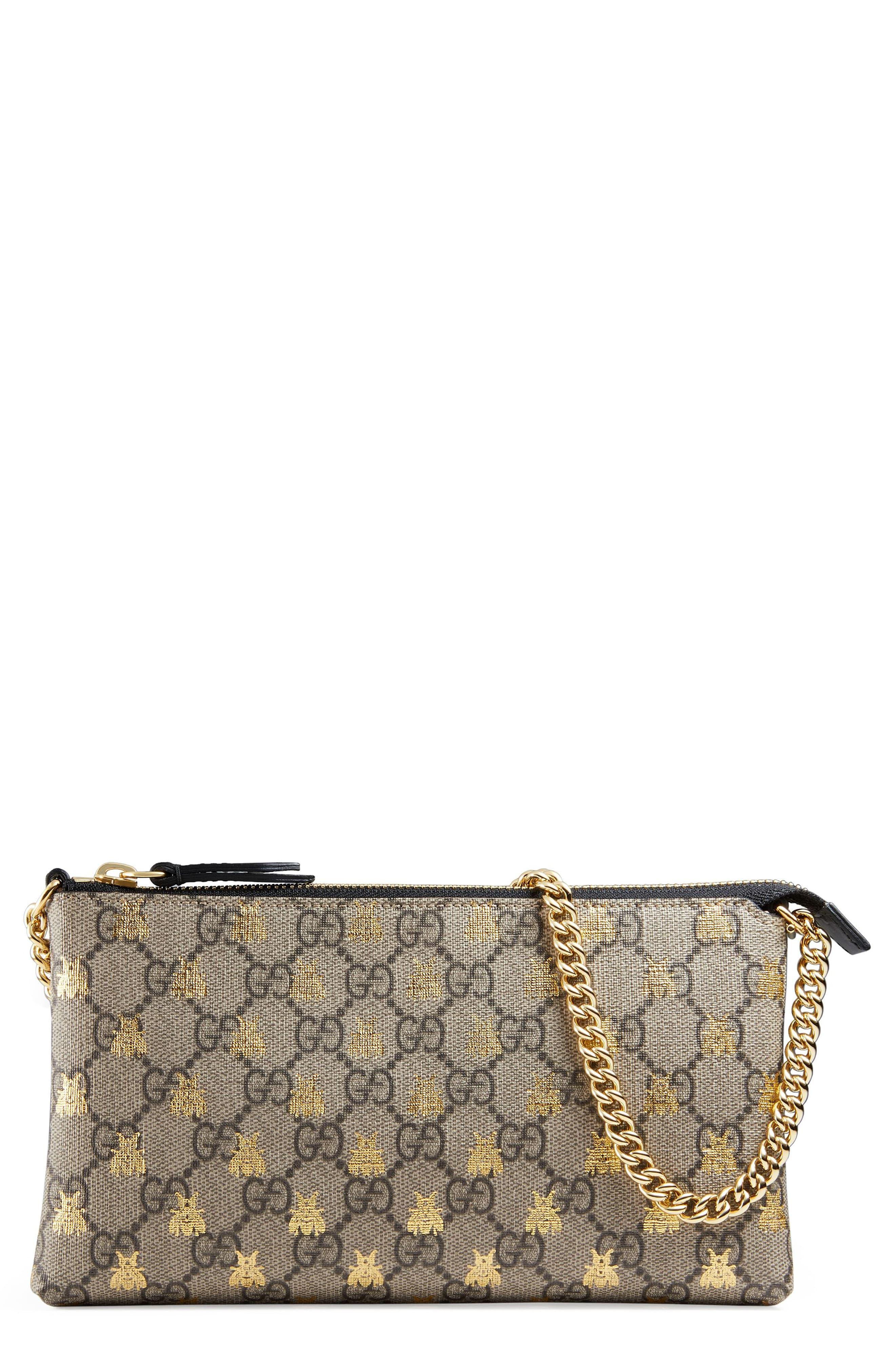 49ba1a69da9829 Gucci Linea Bee Gg Supreme Wrist Wallet in Natural - Lyst