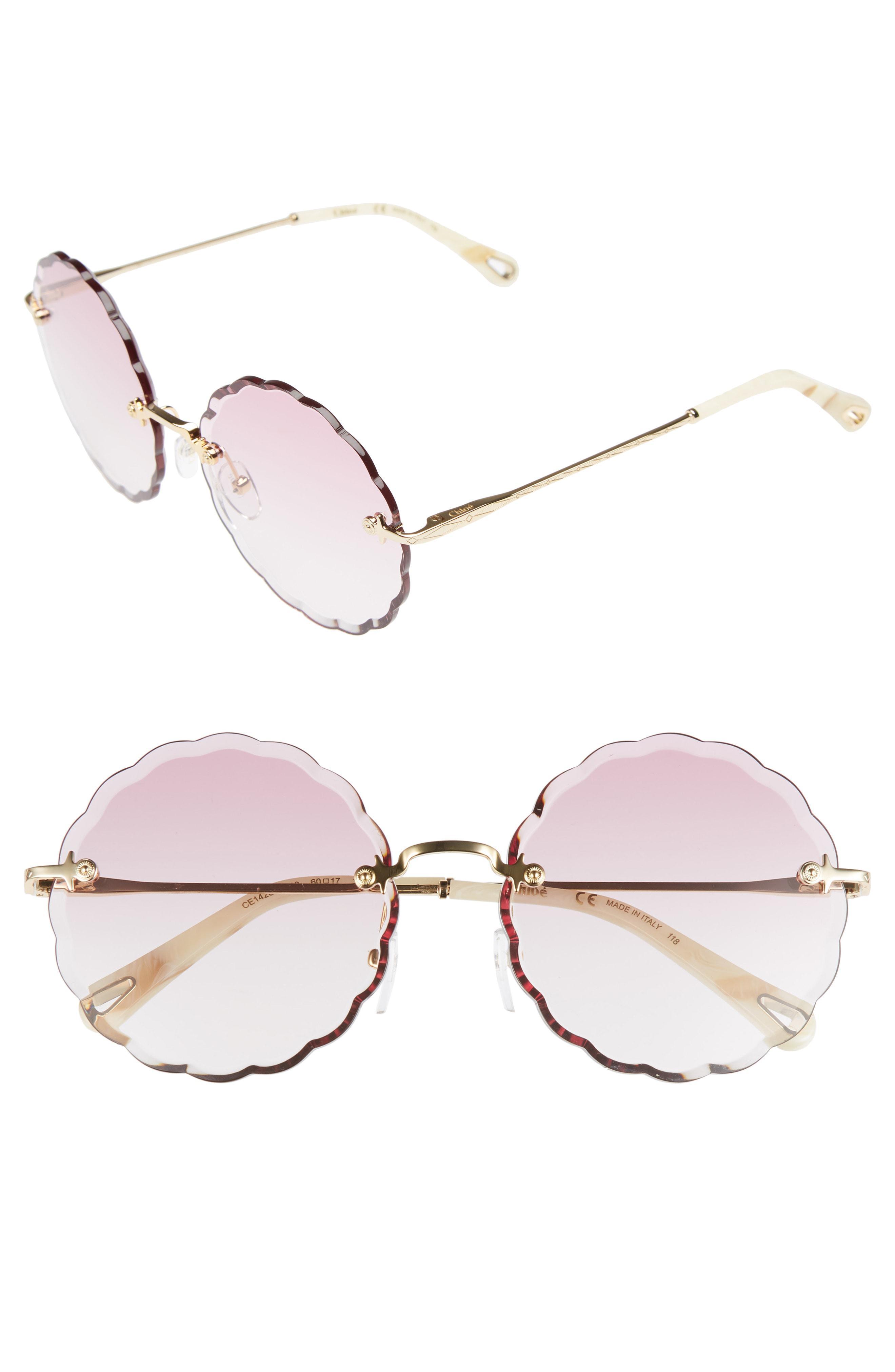 cbedd458067f Lyst - Chloé Rosie 60mm Scalloped Rimless Sunglasses