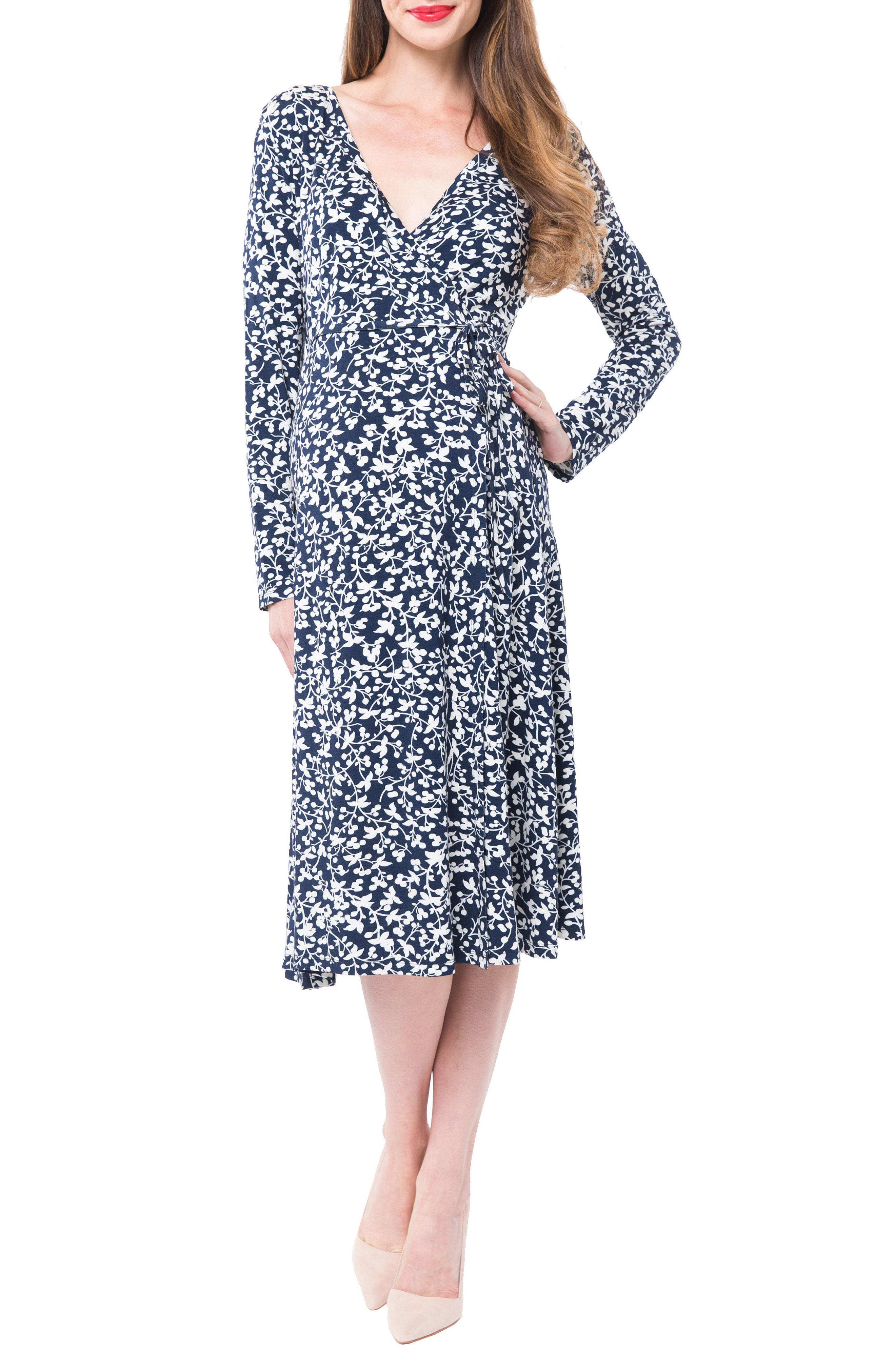 030534e0582 Nom Maternity. Women's Blue Tessa Jersey Maternity/nursing Wrap Dress