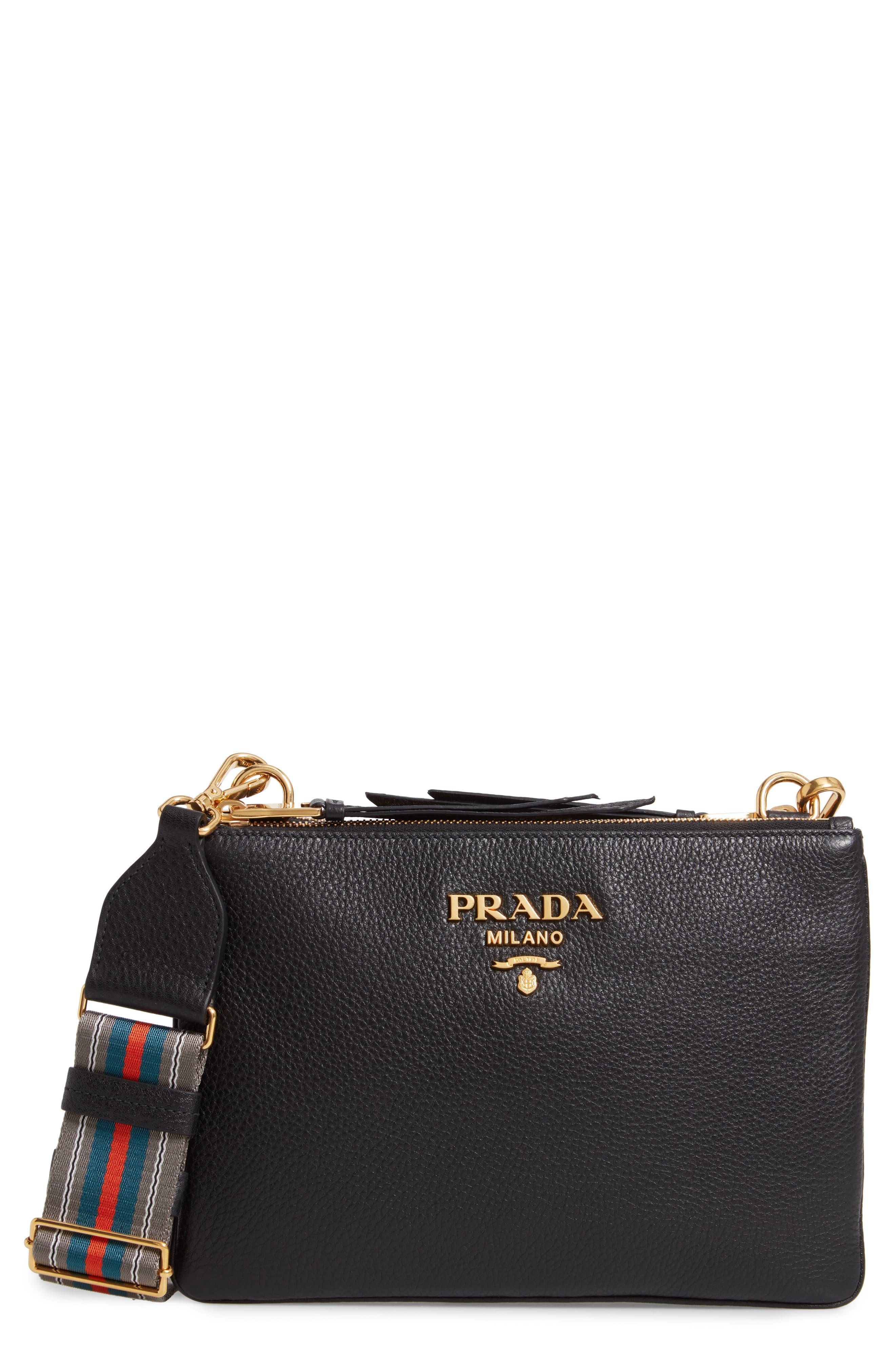 22abddbb38 Prada - Black Vitello Daino Double Compartment Leather Crossbody Bag -  Lyst. View fullscreen