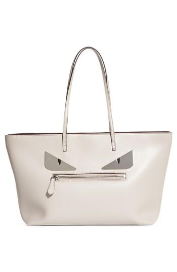 Lyst - Fendi Roll Bag Monster Eyes Leather Tote in Gray a985533cd8b55