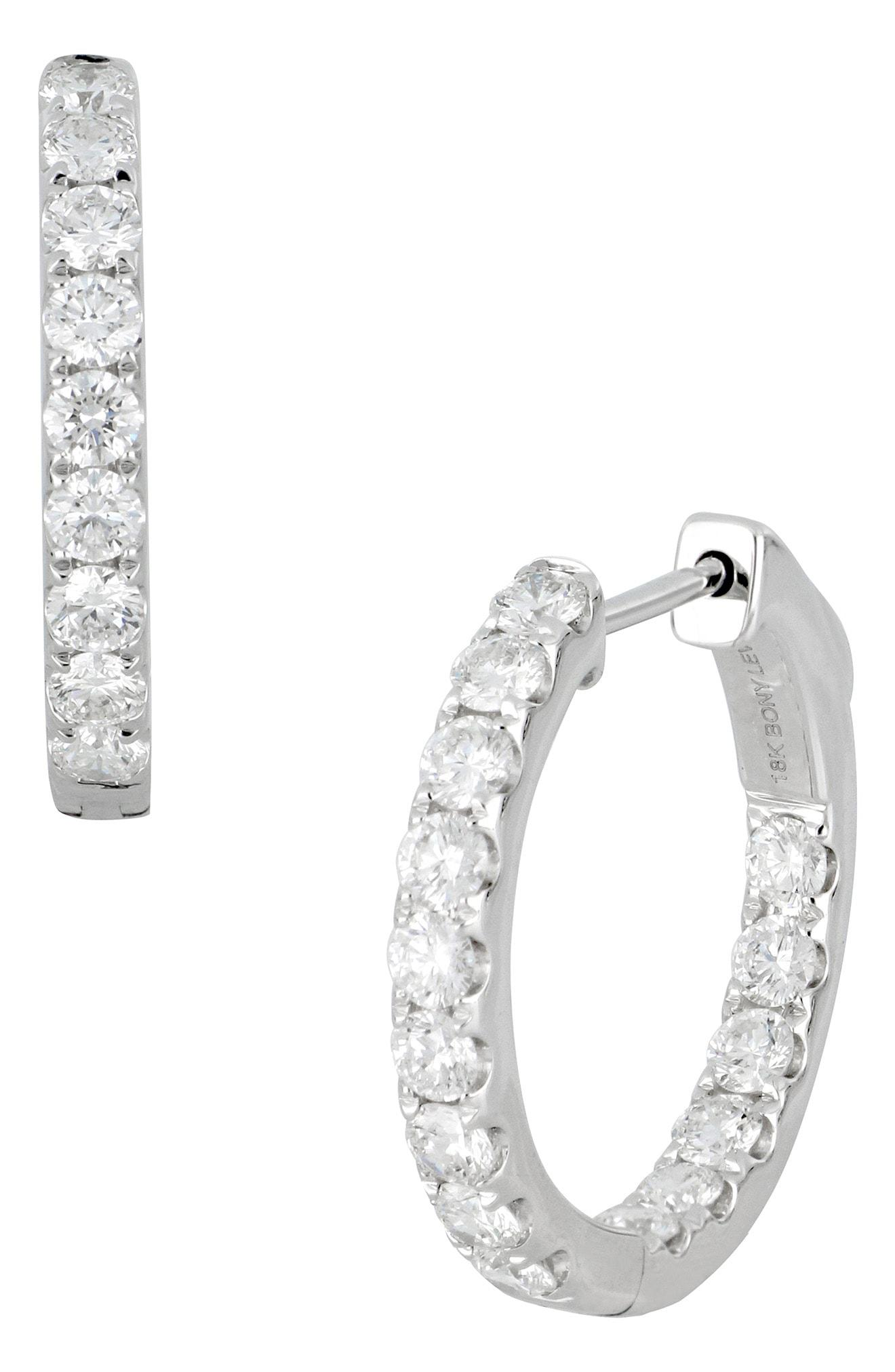 Bony Levy Women S Metallic Diamond Hoop Earrings Nordstrom