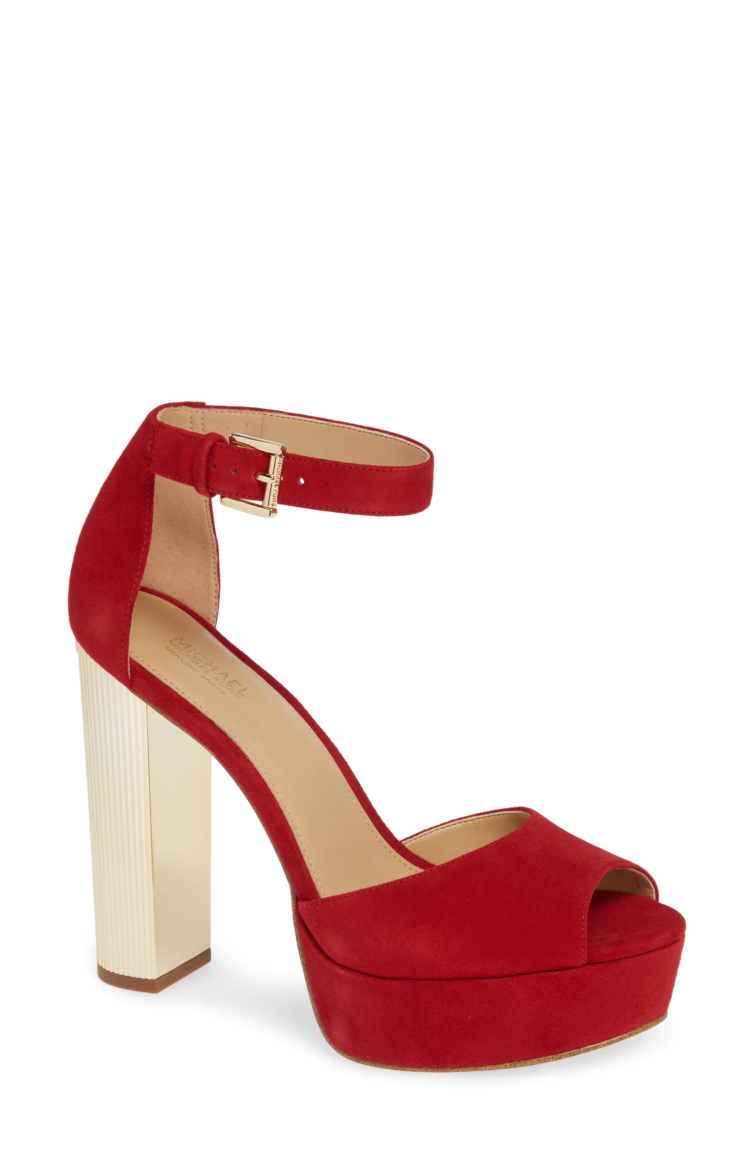 33581e82be4a Lyst - MICHAEL Michael Kors Paloma Metallic Heel Platform Sandal in Red