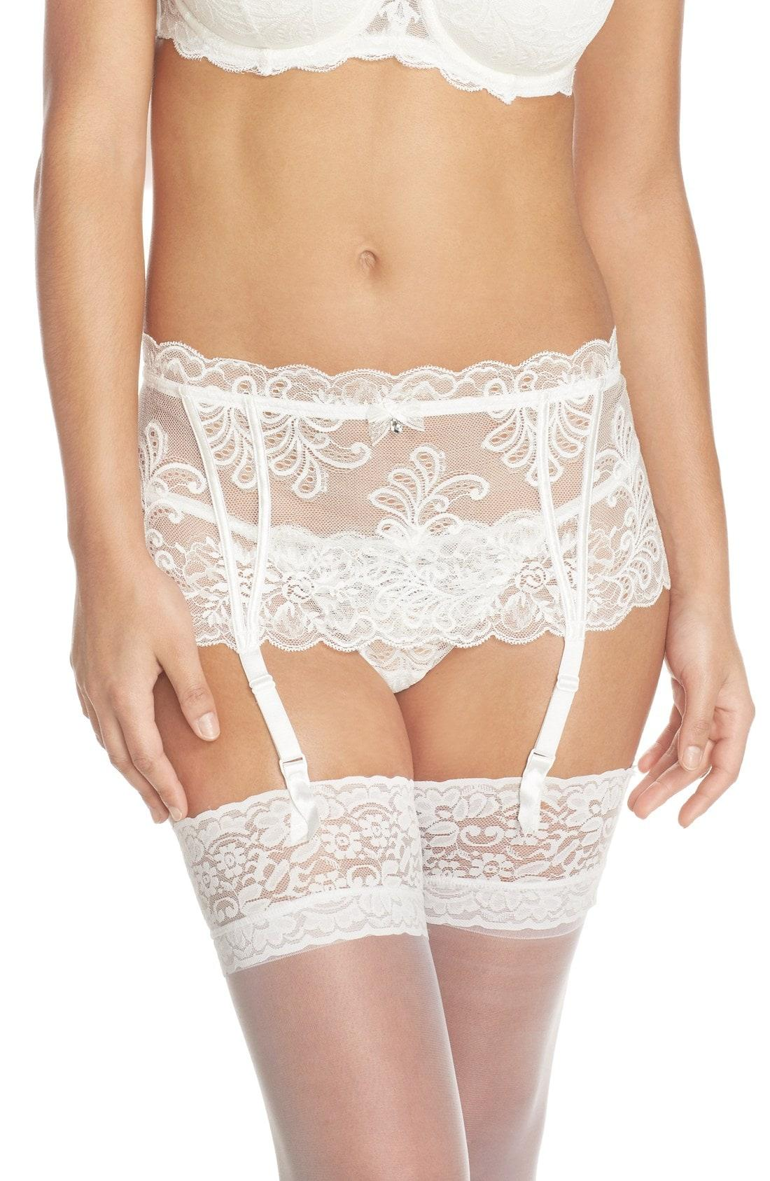 959685cd36e Lyst - Le Mystere Le Mysere  sophia  Lace Garter Belt in White