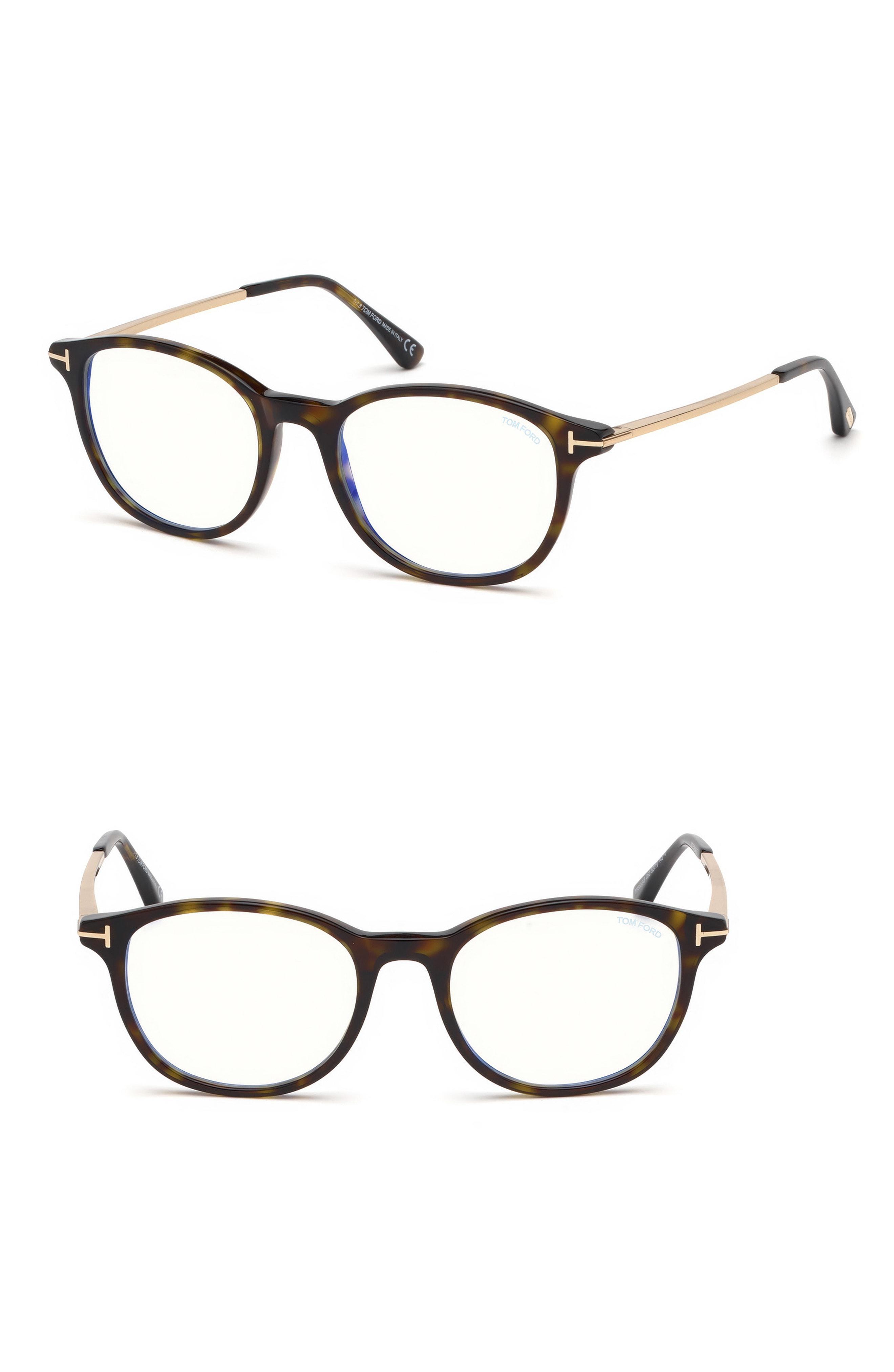 e6b87fe570e Tom Ford 50mm Blue Light Blocking Glasses - Shiny Dark Havana  Blue ...