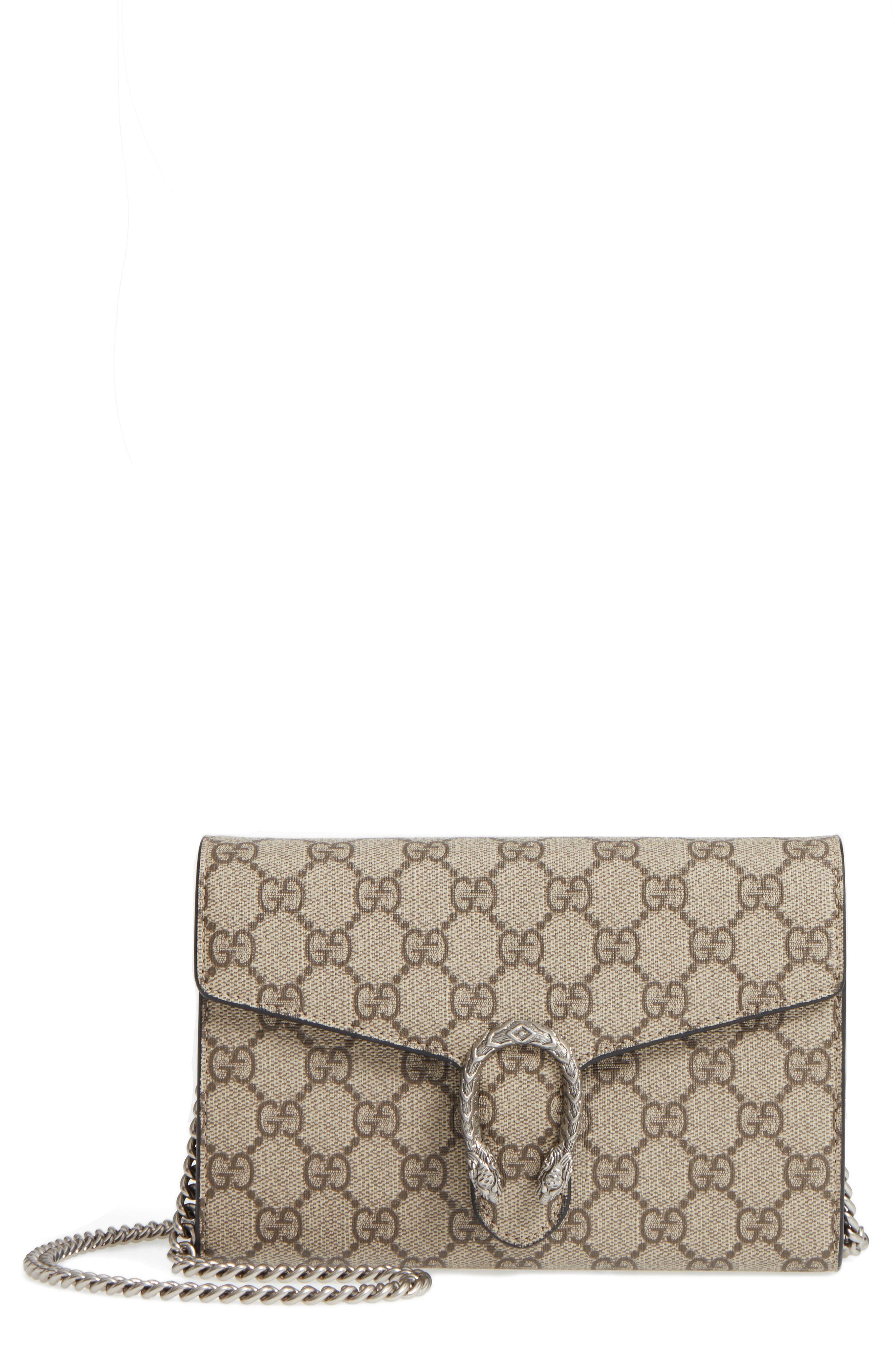 719cbe448d2 Lyst - Gucci Dionysus Gg Supreme Canvas Wallet On A Chain - in Metallic