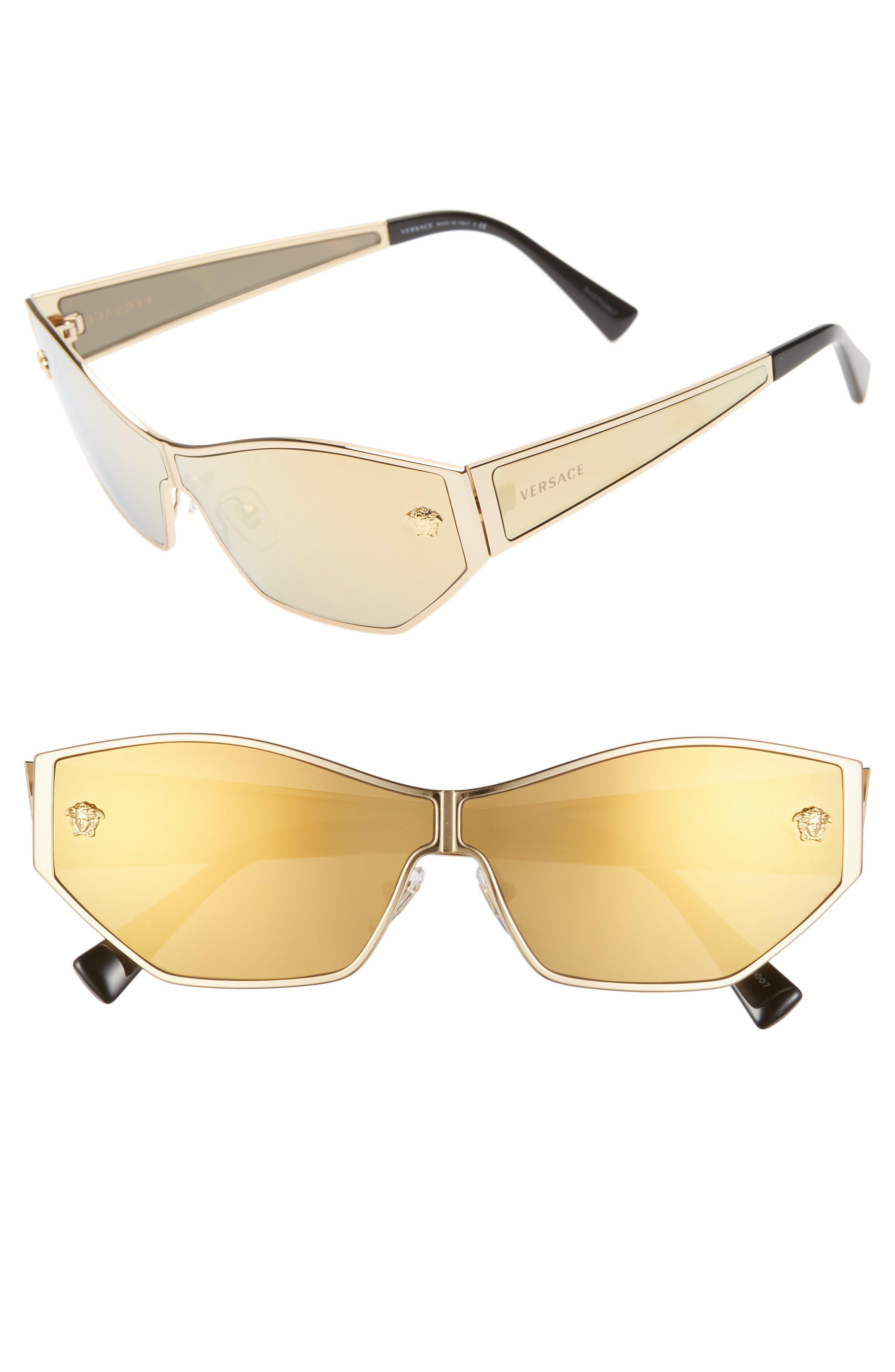 ed6a24ae4cf1b Lyst - Versace 66mm Shield Sunglasses in Metallic