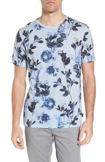 Ted baker doberma trim fit floral print t shirt in blue for Ted baker floral print shirt
