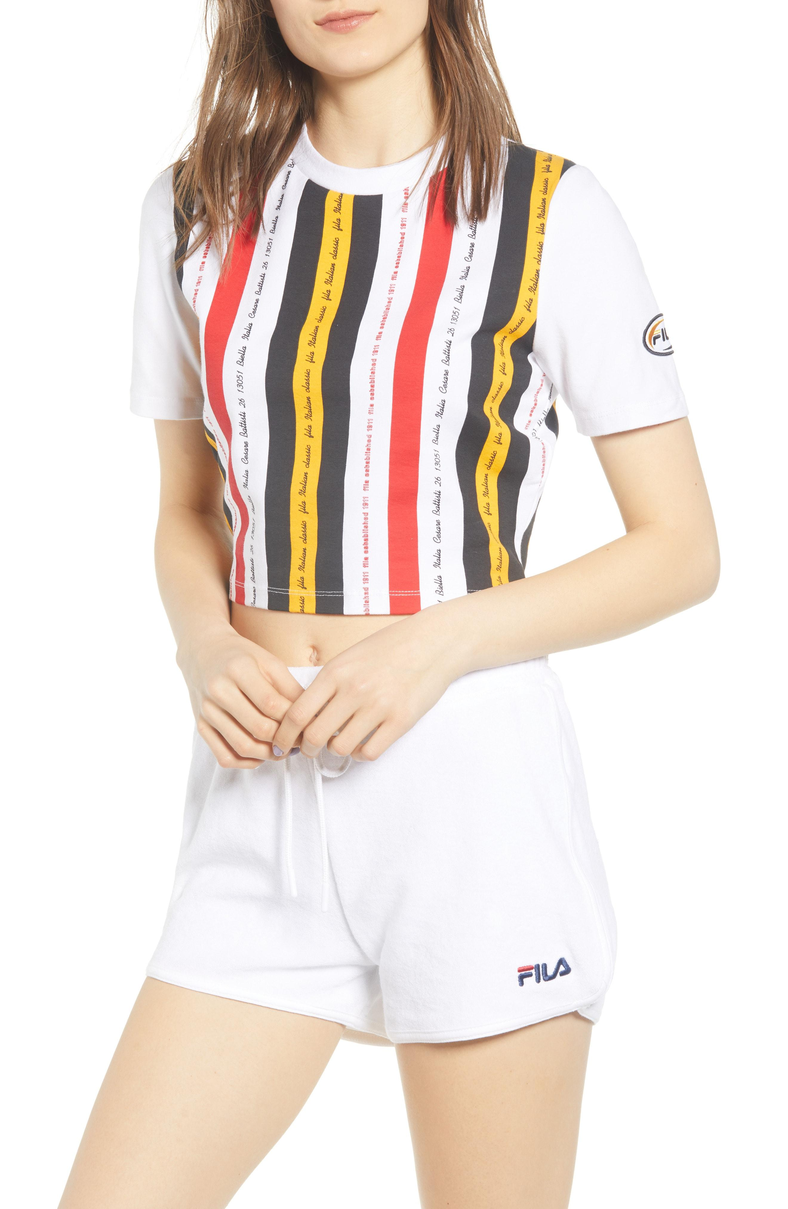 fe41cdde3c9c58 Fila - Multicolor Juana Stripe Crop Tee - Lyst. View fullscreen