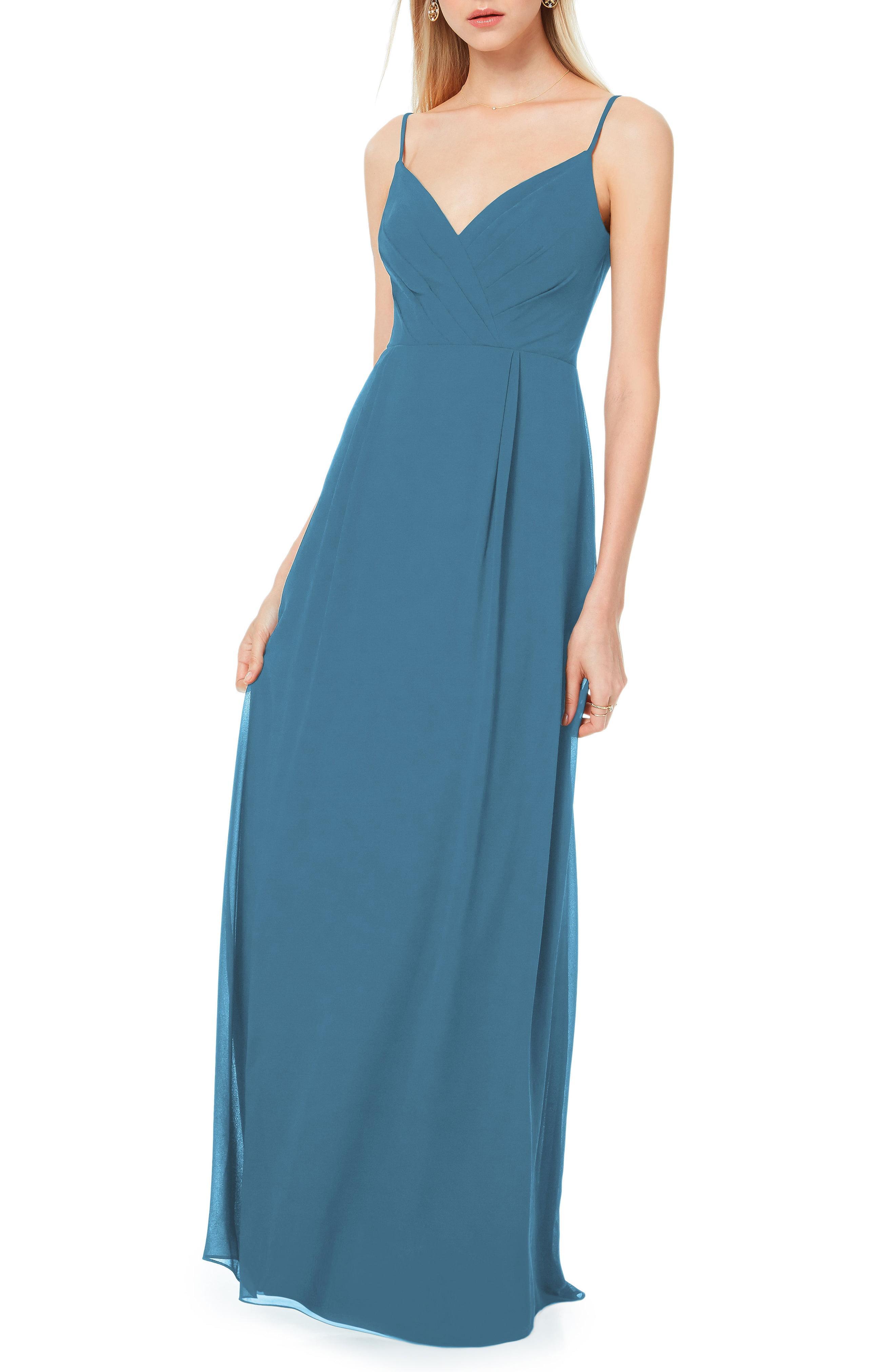dd9b5aa6ae Lyst - Bill Levkoff Pleated Bodice Chiffon Gown in Blue
