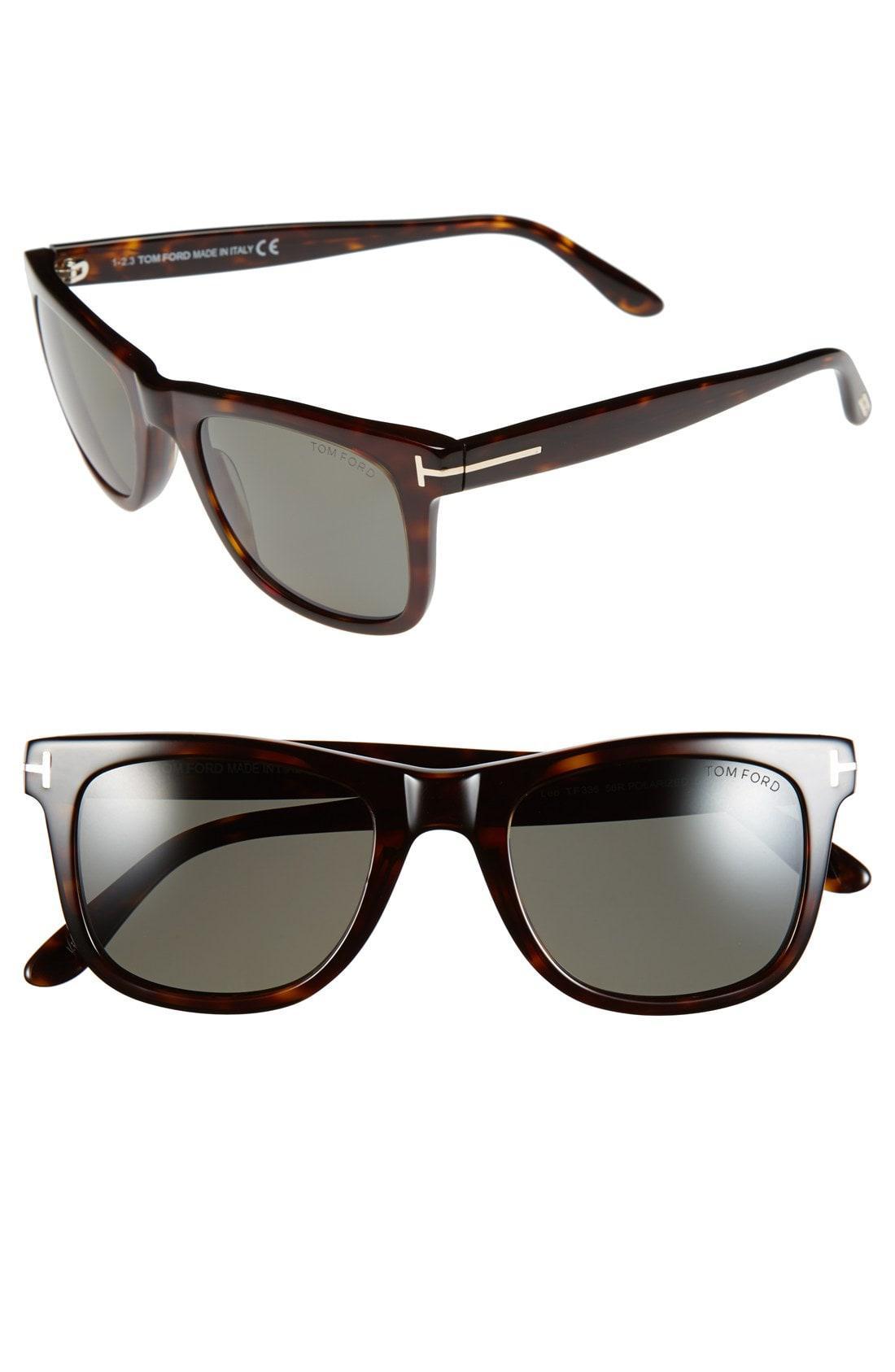 b96bf2a7f13 Tom Ford - Brown  leo  52mm Polarized Sunglasses - Shiny Classic Havana for  Men. View fullscreen