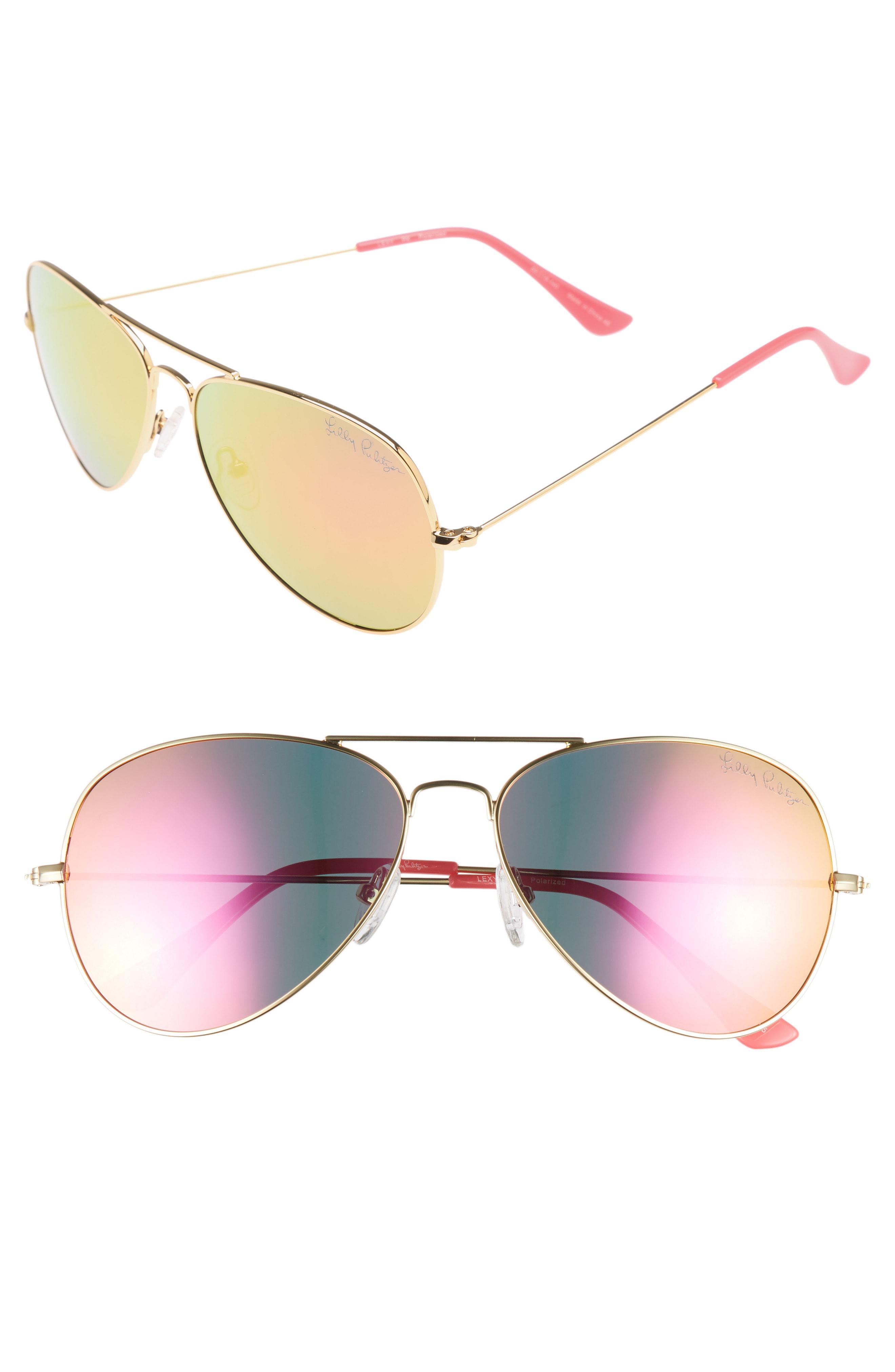 1f0c941dc4 Lilly Pulitzer. Women s Lilly Pulitzer Lexy 59mm Polarized Aviator  Sunglasses ...