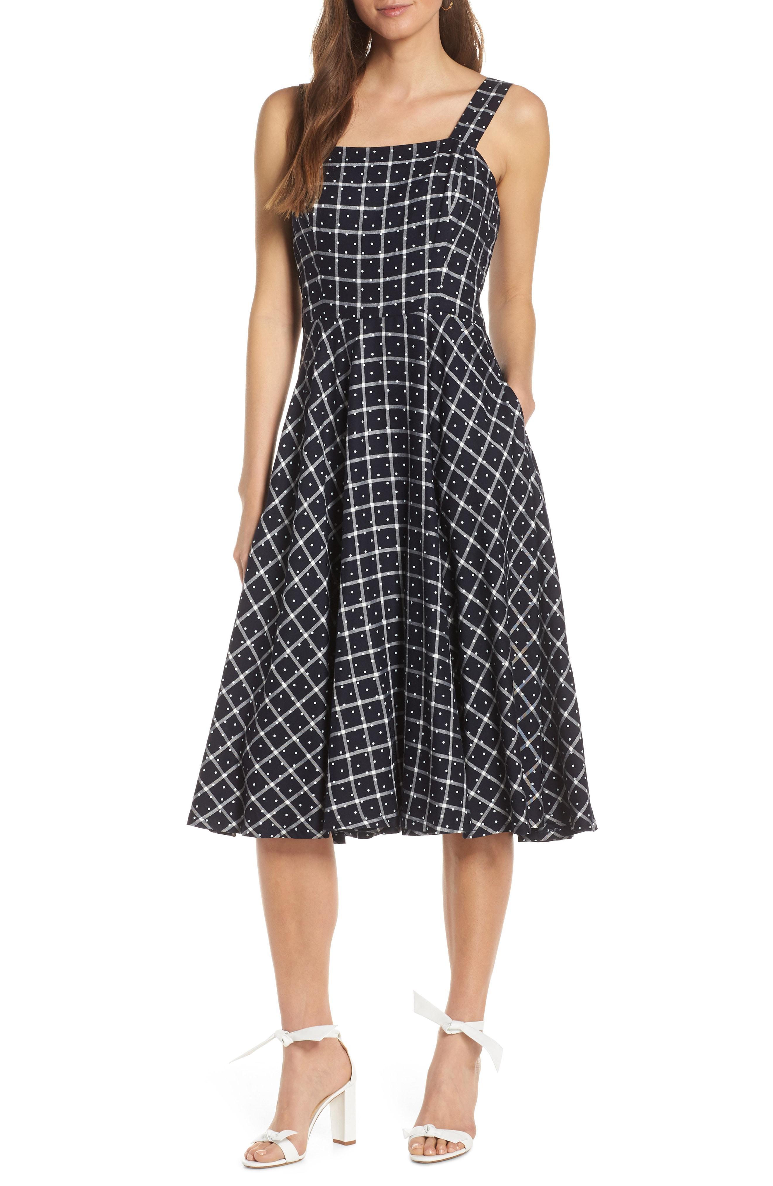 89684fb7fa4 Lyst - Nordstrom 1901 Windowpane Check Fit   Flare Dress in Black
