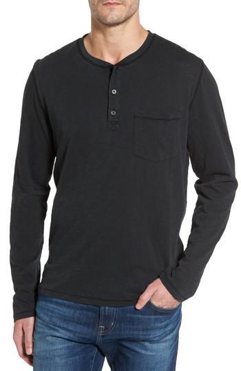 Ugg ugg long sleeve henley t shirt in black for men lyst for Black long sleeve henley shirt