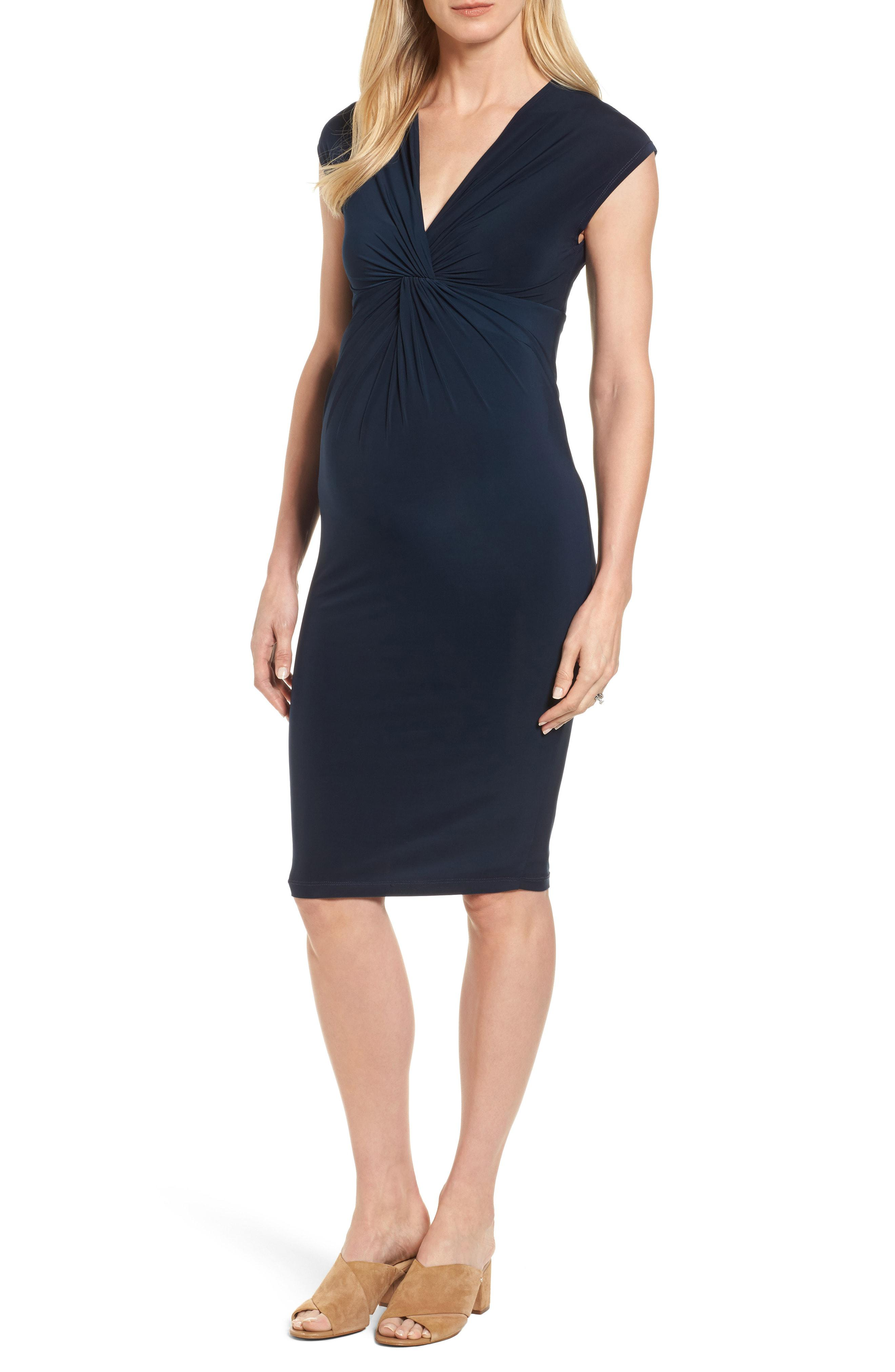 aacd0bf35a2 Lyst - Isabella Oliver  carla  Knot Front Jersey Maternity Dress in Blue