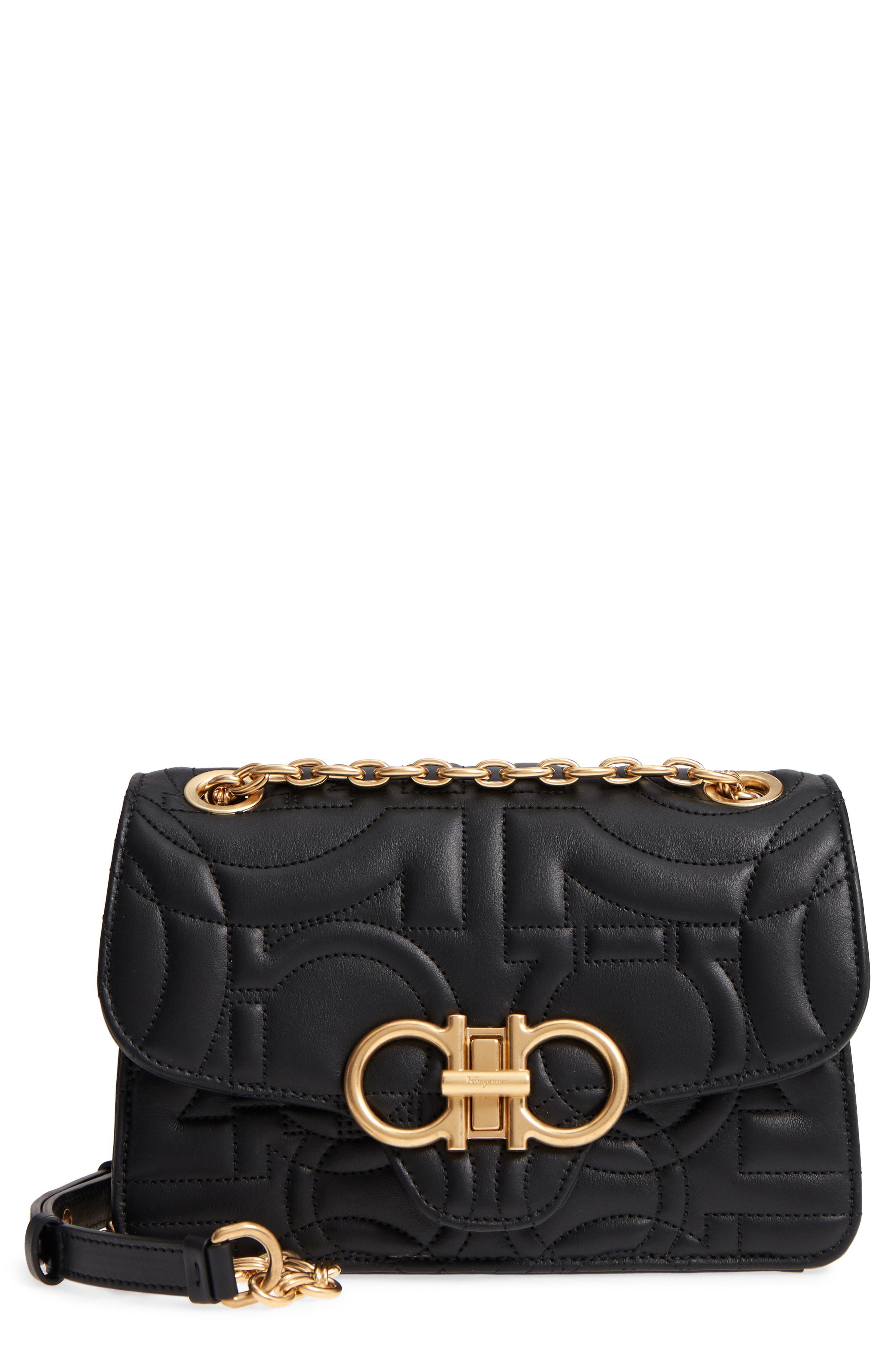 Lyst - Ferragamo Quilted Gancio Leather Shoulder Bag in Black d78a18dbeaf45