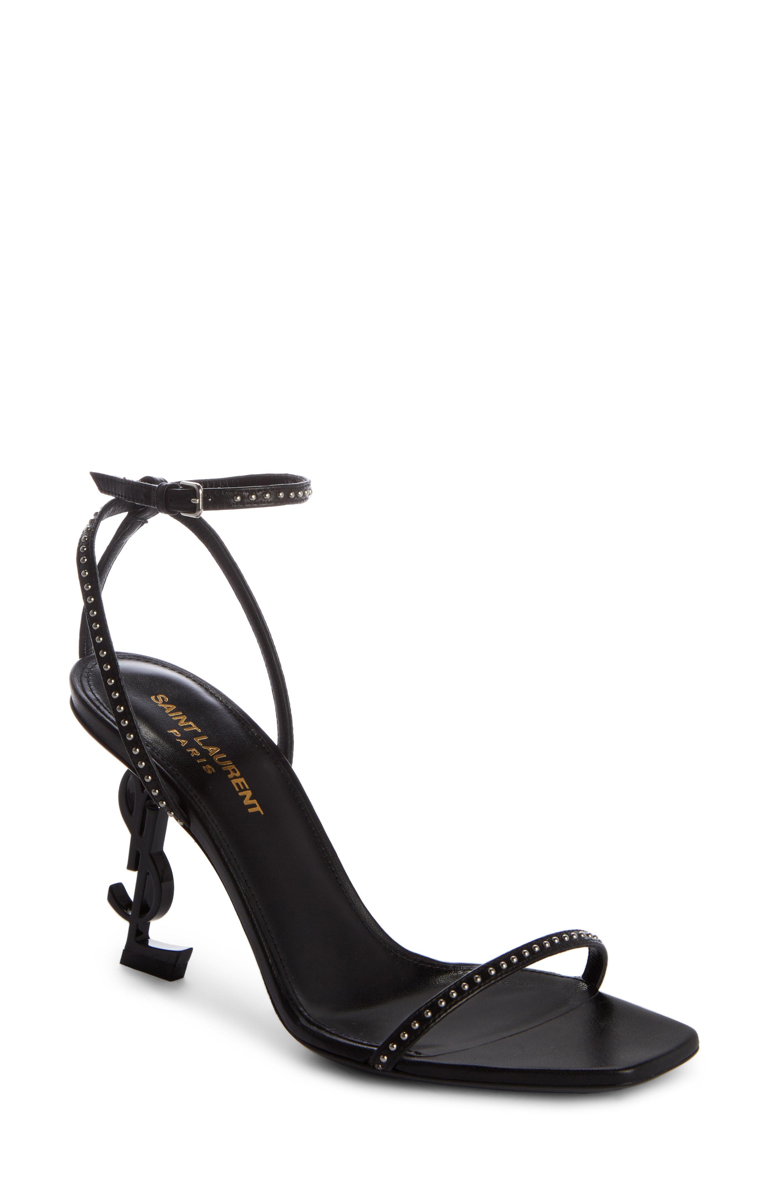 34f739c62aa6 Lyst - Saint Laurent Opyum Ysl Studded Ankle Strap Sandal in Black