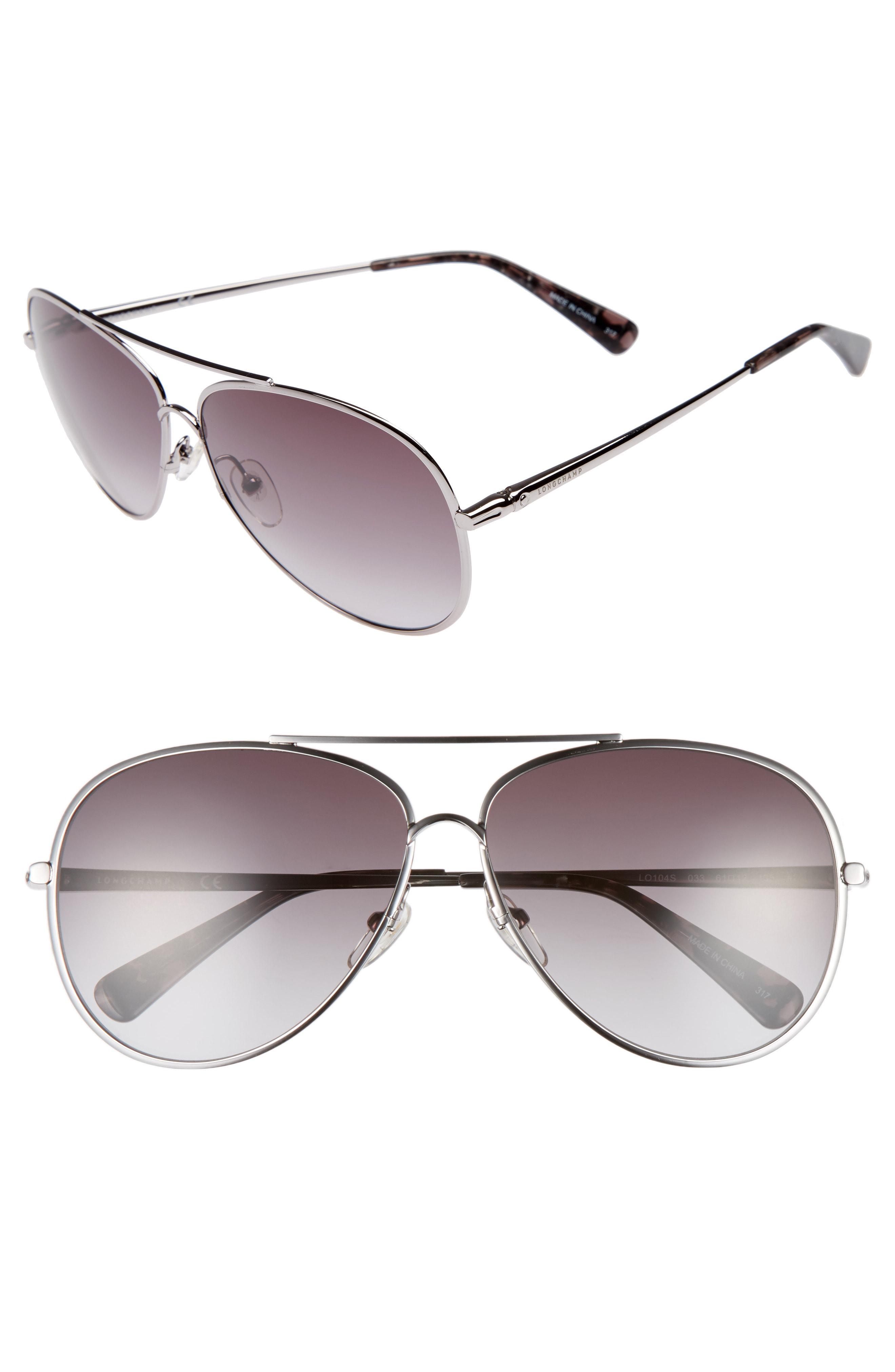 e73140875e Lyst - Longchamp 61mm Gradient Lens Aviator Sunglasses - Gunmetal in ...