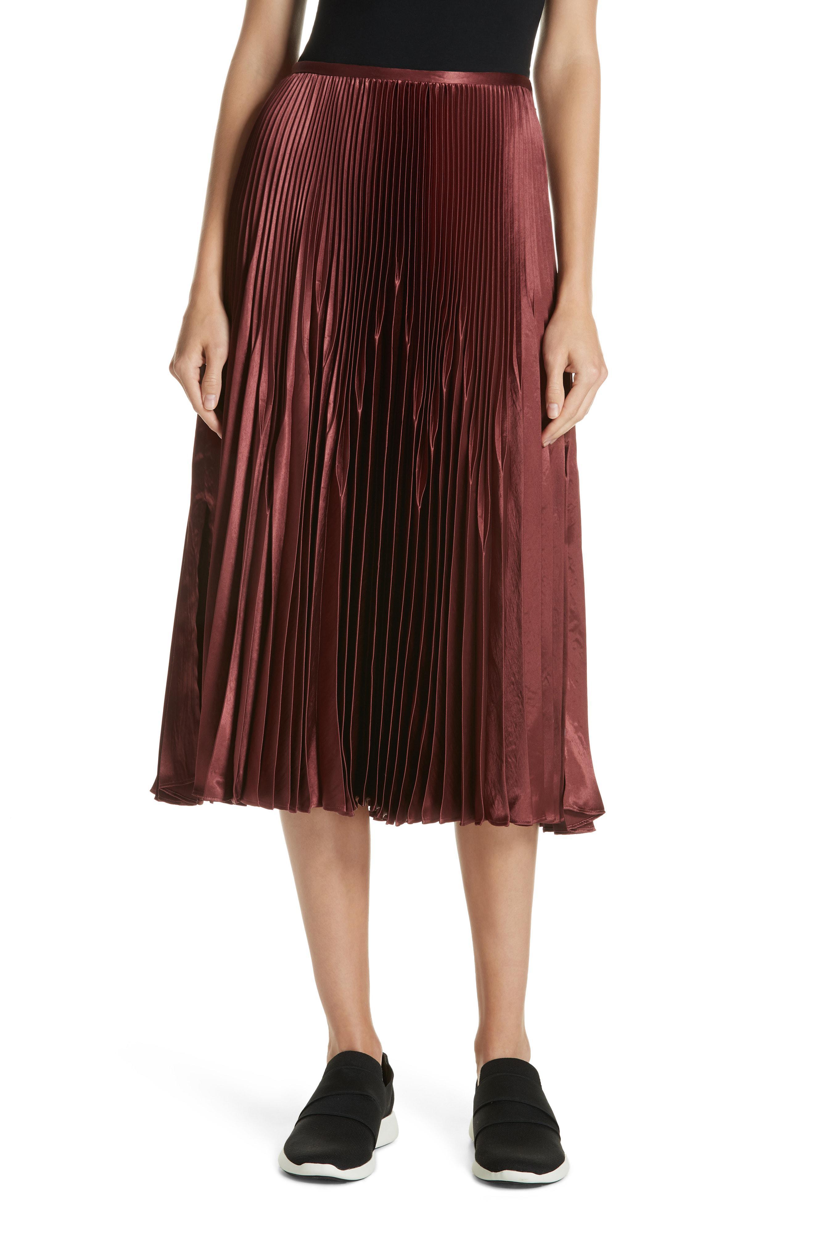 5d34c60eab Lyst - Vince Chevron Pleated Satin Skirt - Save 40%