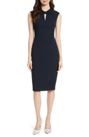 3867516c664632 Lyst - Ted Baker Kezzia Bow Neck Body-con Dress in Blue