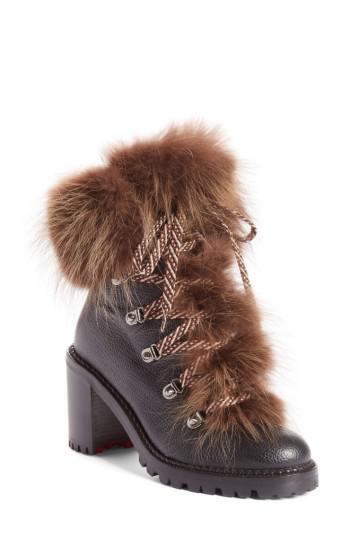 86b3b23df4ad Lyst - Christian Louboutin Fanny Genuine Raccoon Fur Boot in Brown