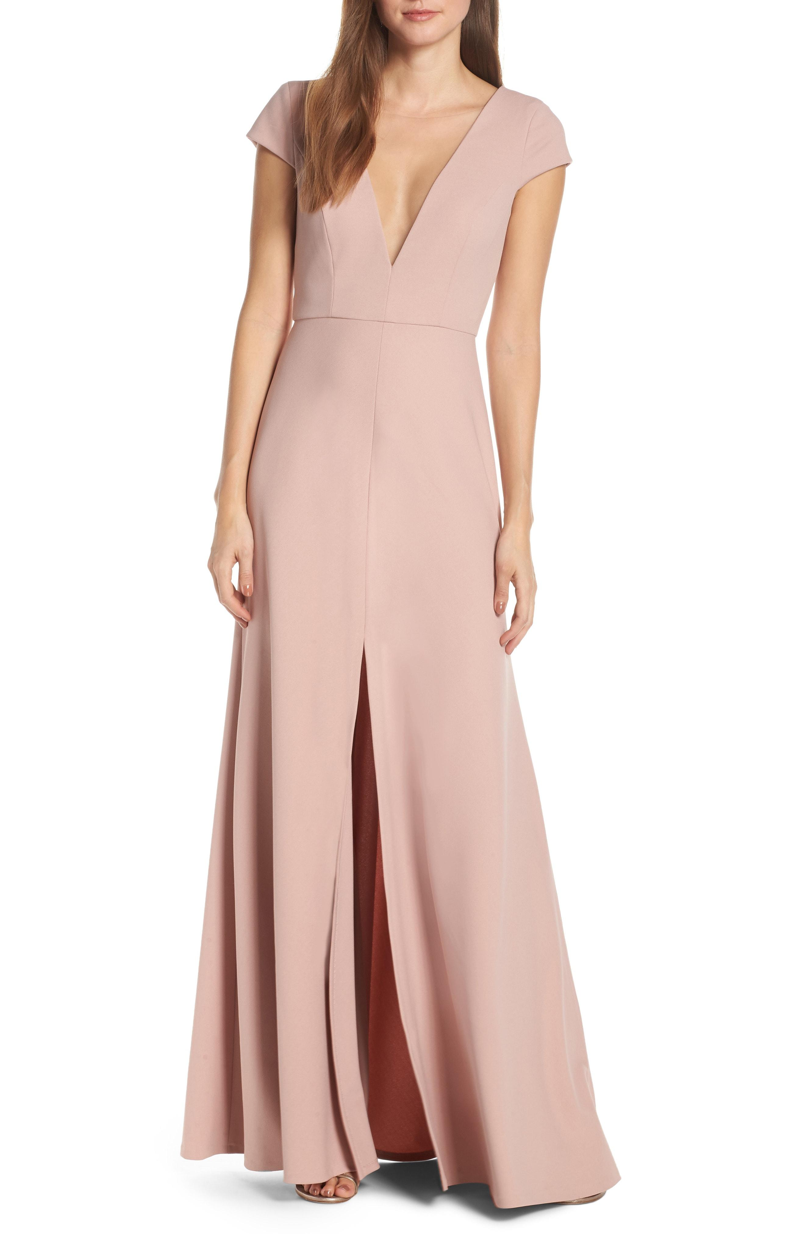 c13365adec Lyst - Jenny Yoo Cara Deep V-neck Evening Dress in Pink
