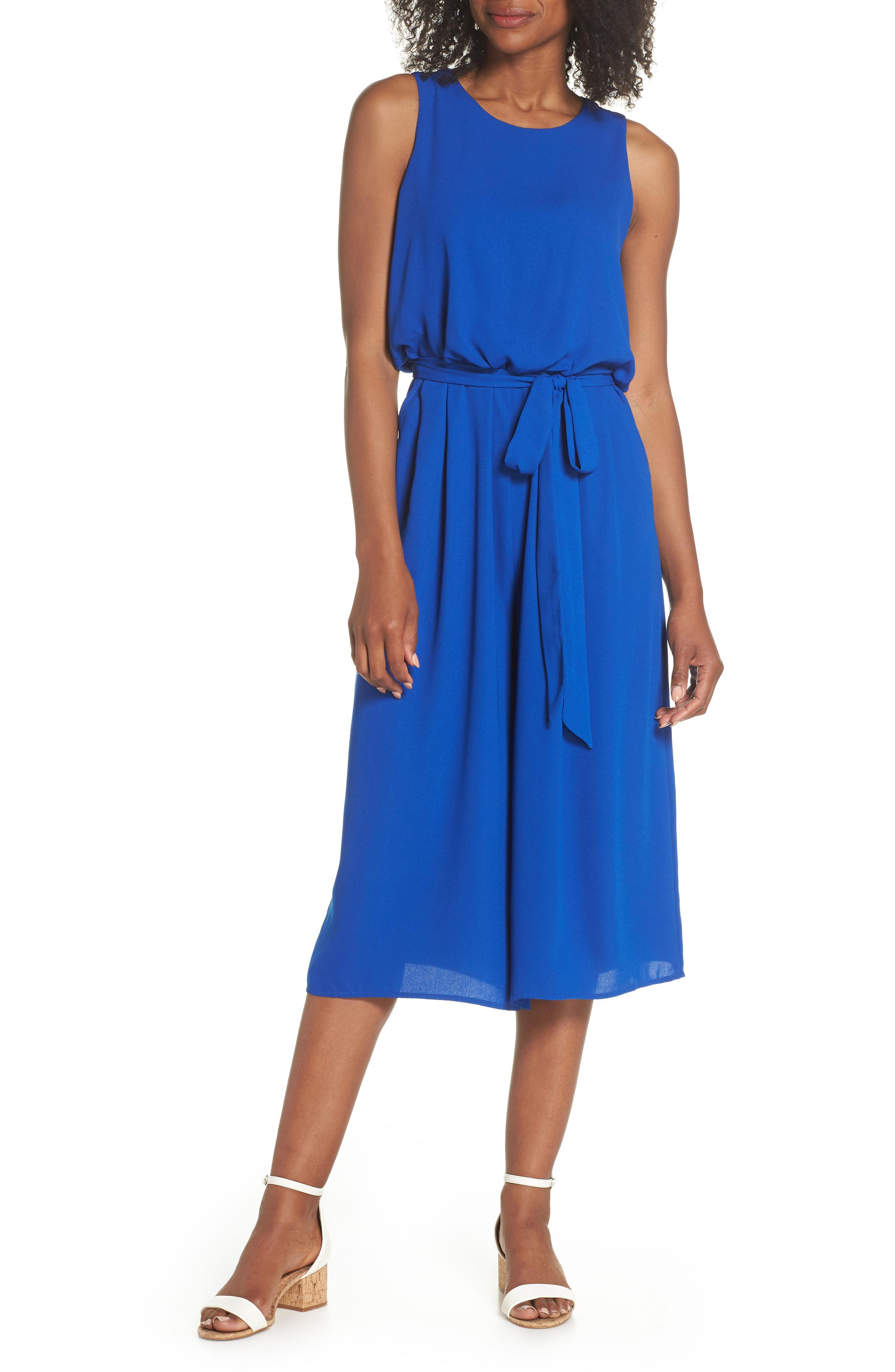 5b179b71ae89 Lyst - Vince Camuto Moss Crepe Wide Leg Jumpsuit in Blue