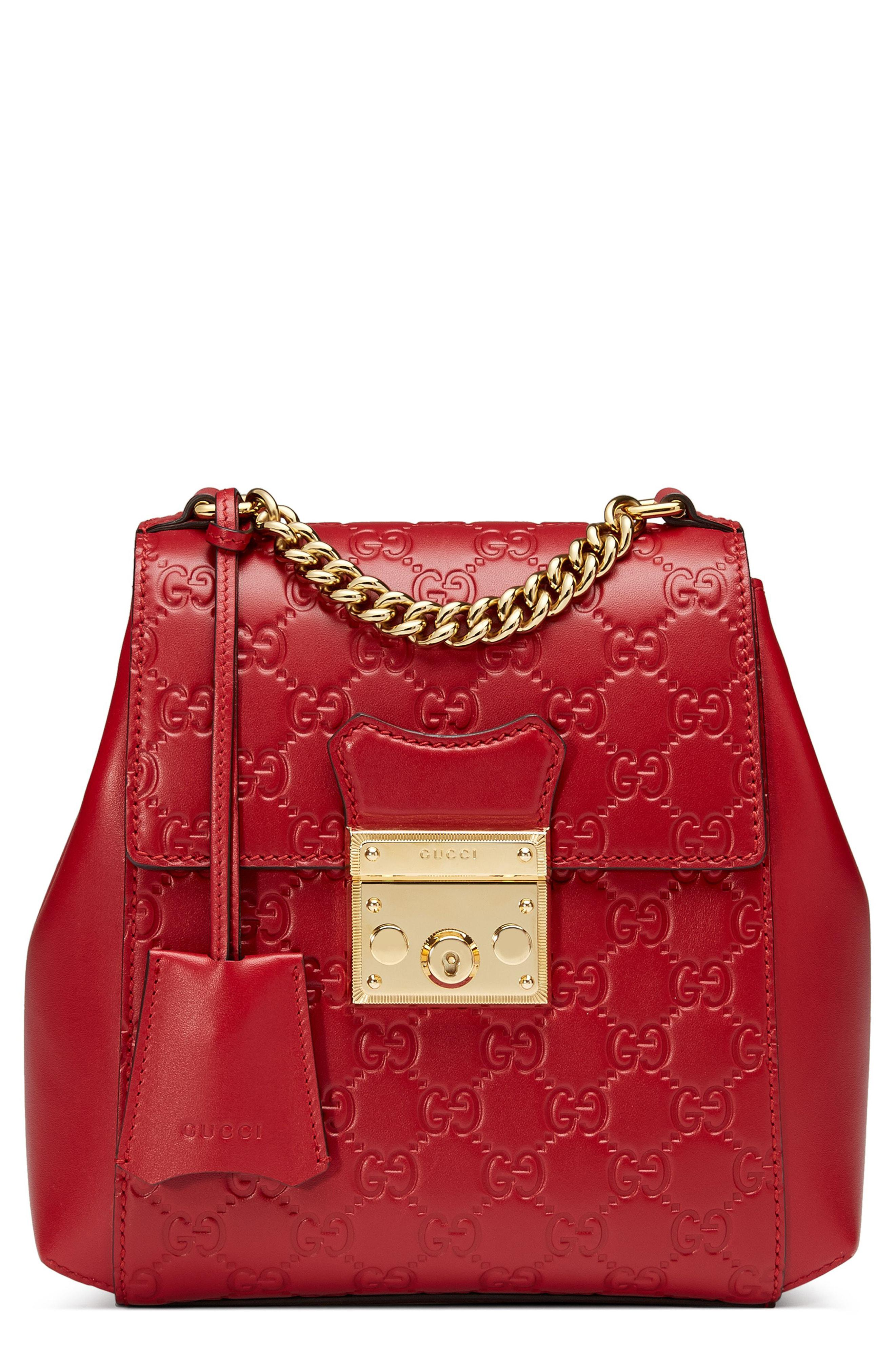 af8494490577 Gucci Gg Supreme Leather Padlock Backpack in Red - Lyst