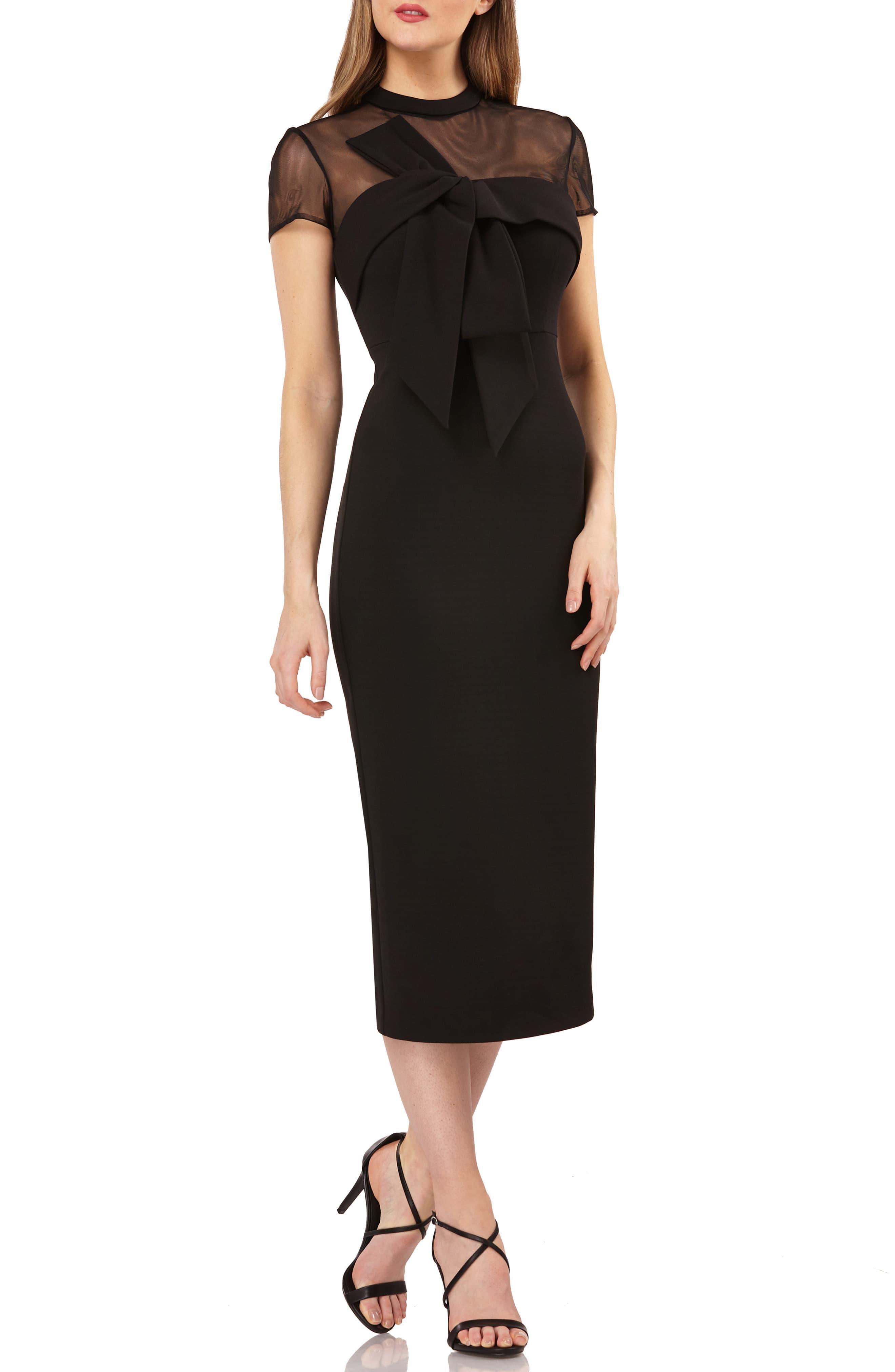 8c922aafa6a JS Collections Stretch Crepe Midi Dress in Black - Lyst