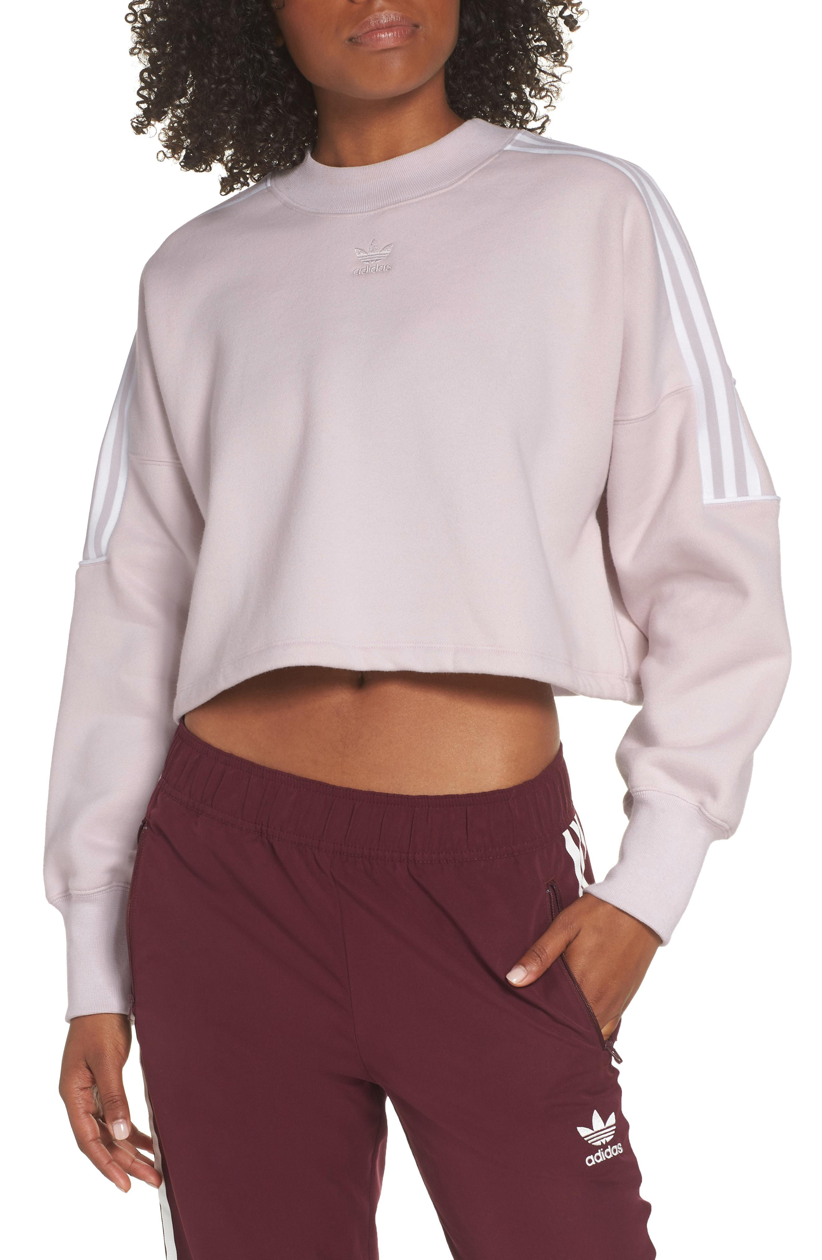 Adidas - Purple Originals Crop Sweatshirt - Lyst. View fullscreen 6f3c880bfb8