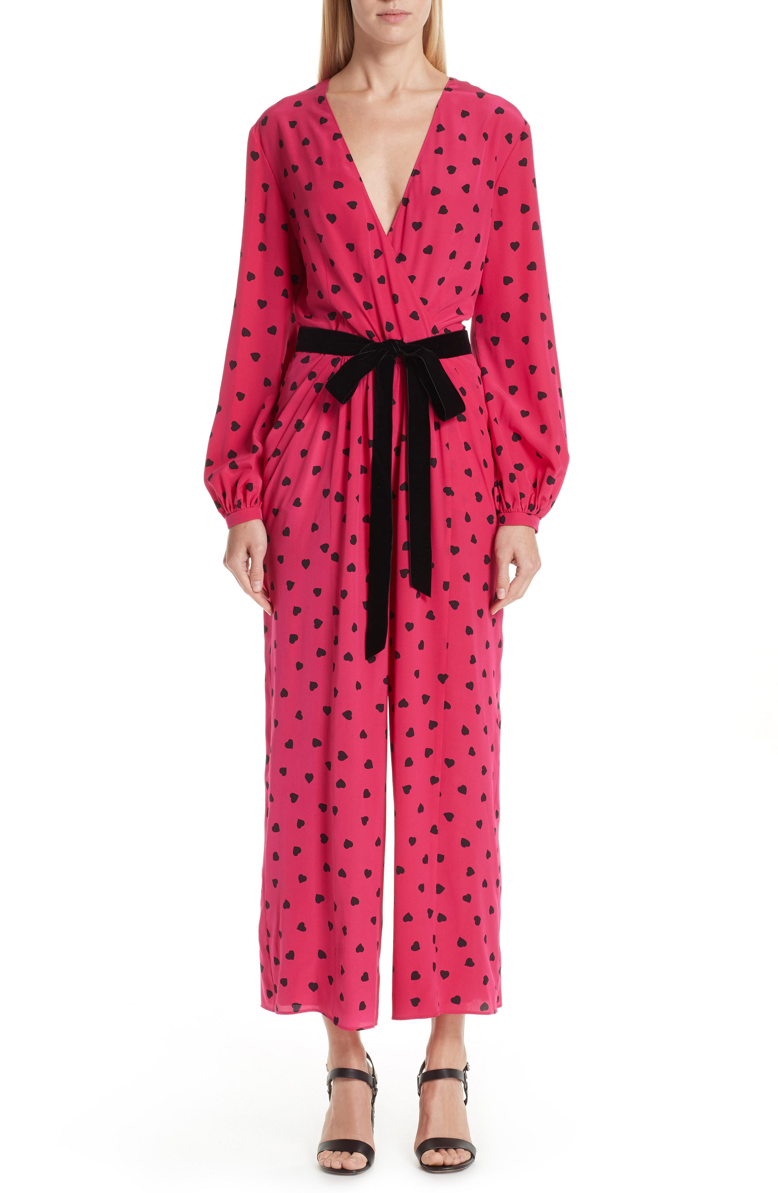 9a2d70f2c28 Valentino. Women s Heart Print Silk Jumpsuit