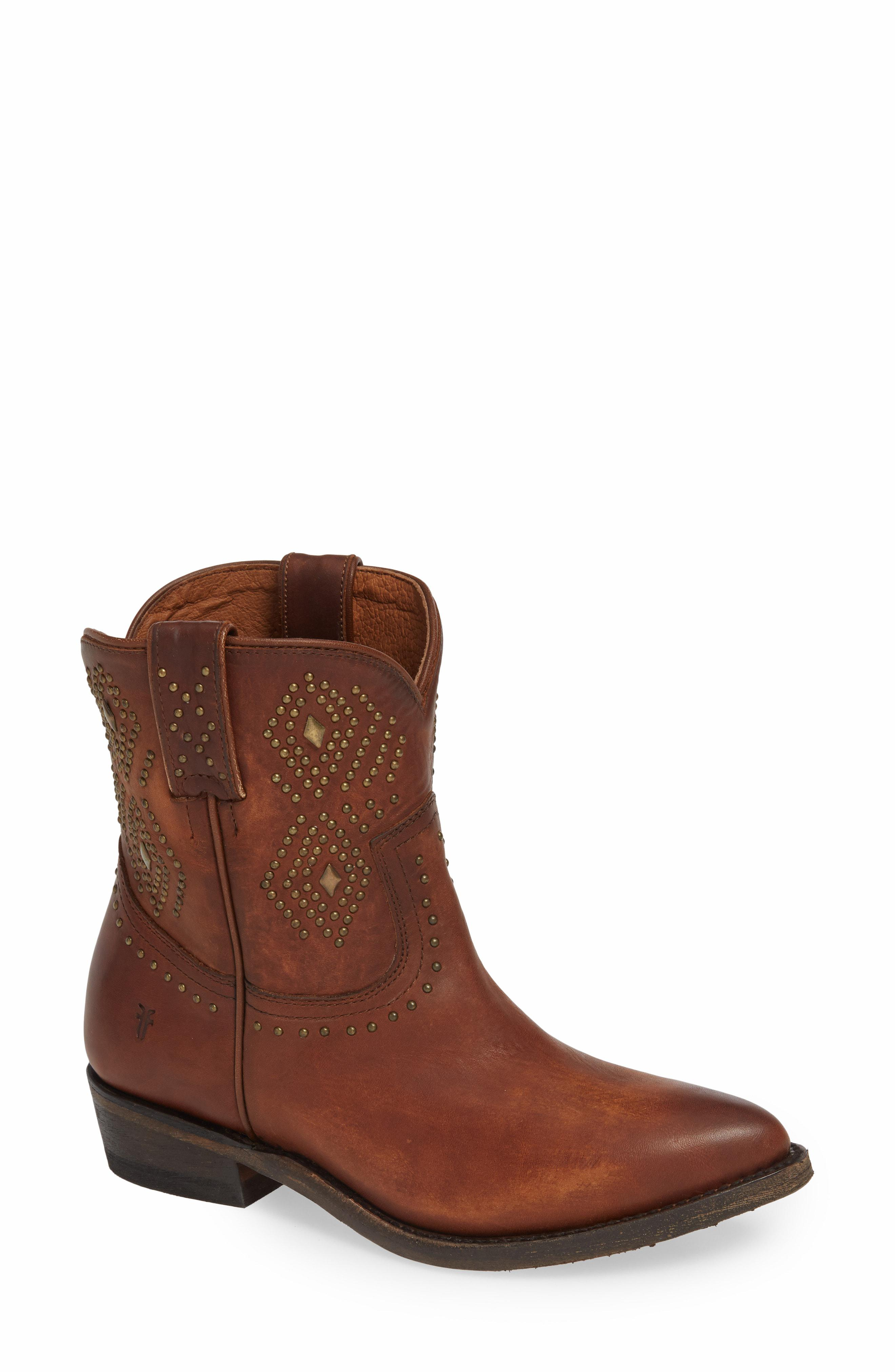 4eab5036bf6 Lyst - Frye Billy Stud Short Western Boot in Brown