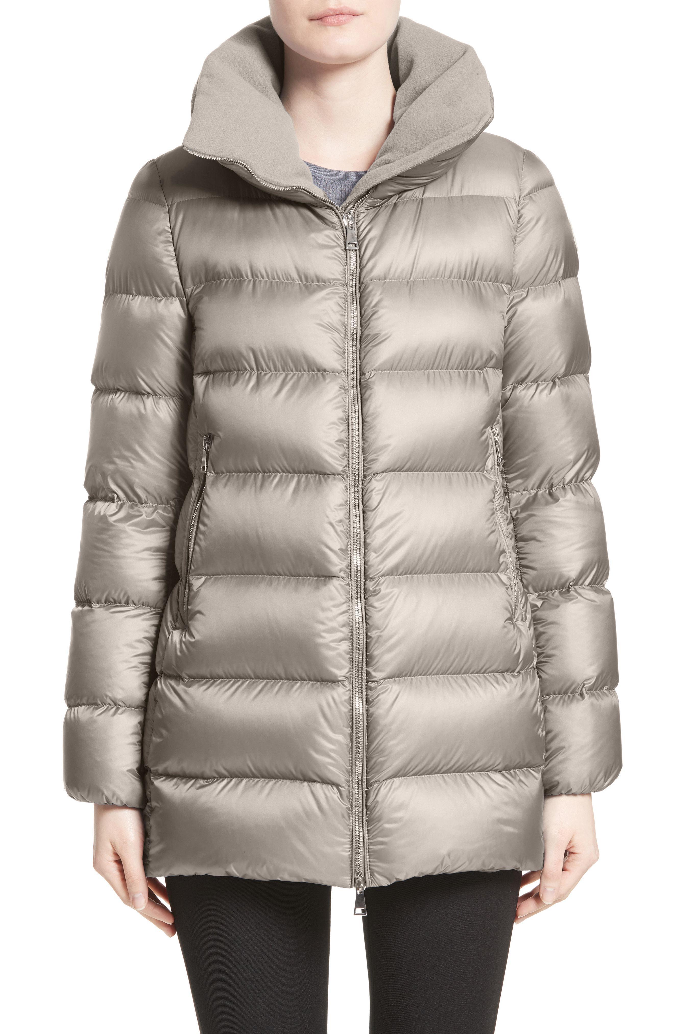 Womens Moncler Torcyn Nylon Down Puffer Coat