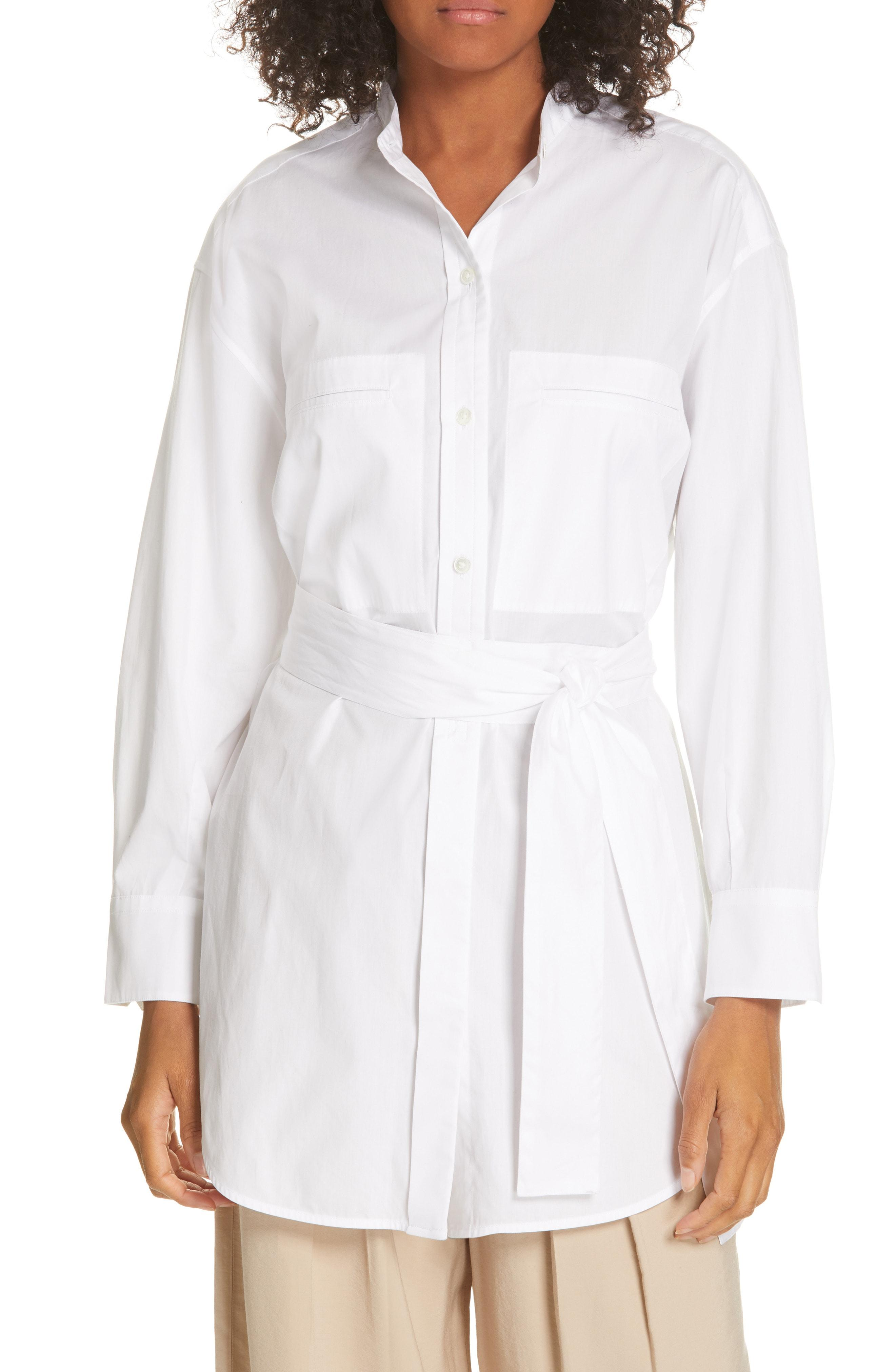 2cd05b4f9a2b53 Vince - White Belted Oversize Cotton Blouse - Lyst. View fullscreen