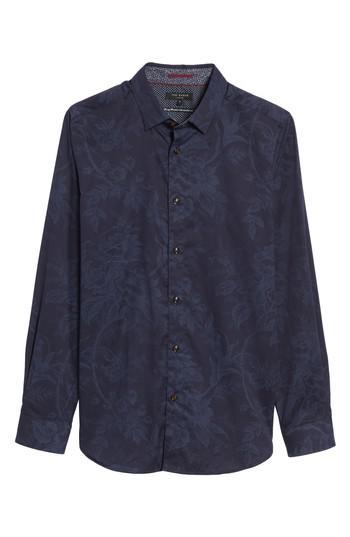 Ted baker modern slim fit floral print sport shirt in blue for Ted baker floral shirt