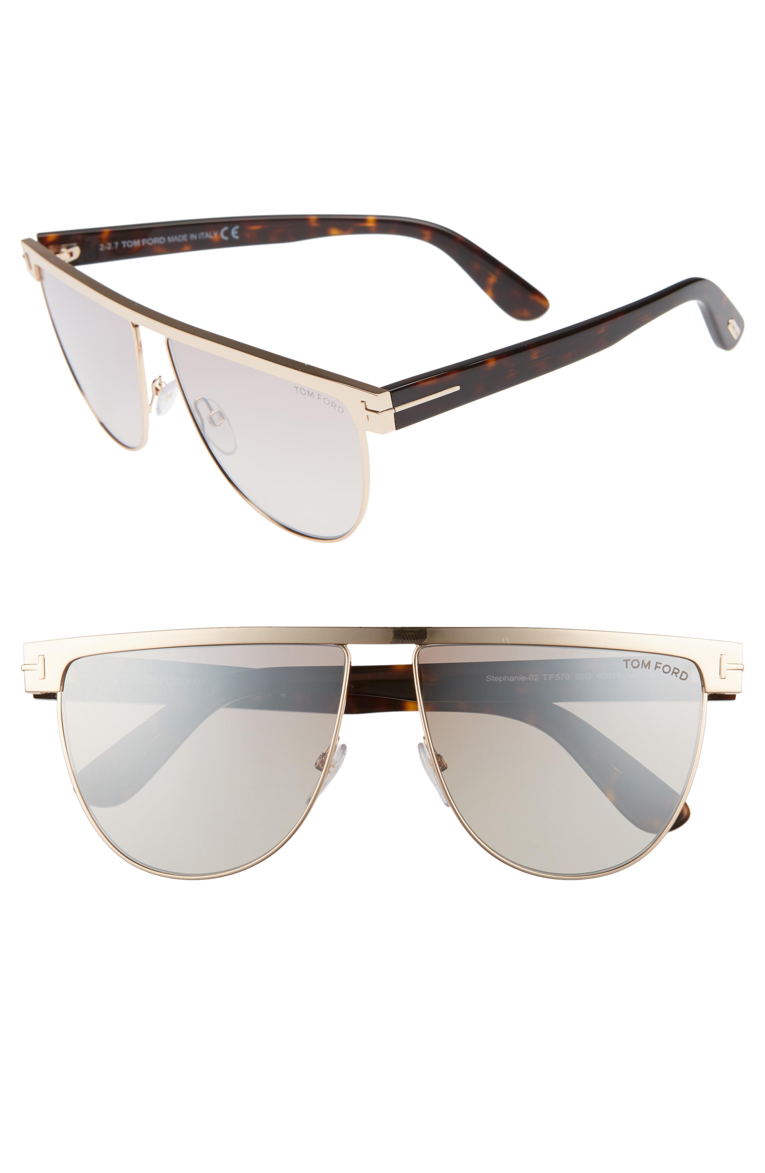 829bd426af1e Lyst - Tom Ford Stephanie 60mm Mirrored Sunglasses in Metallic