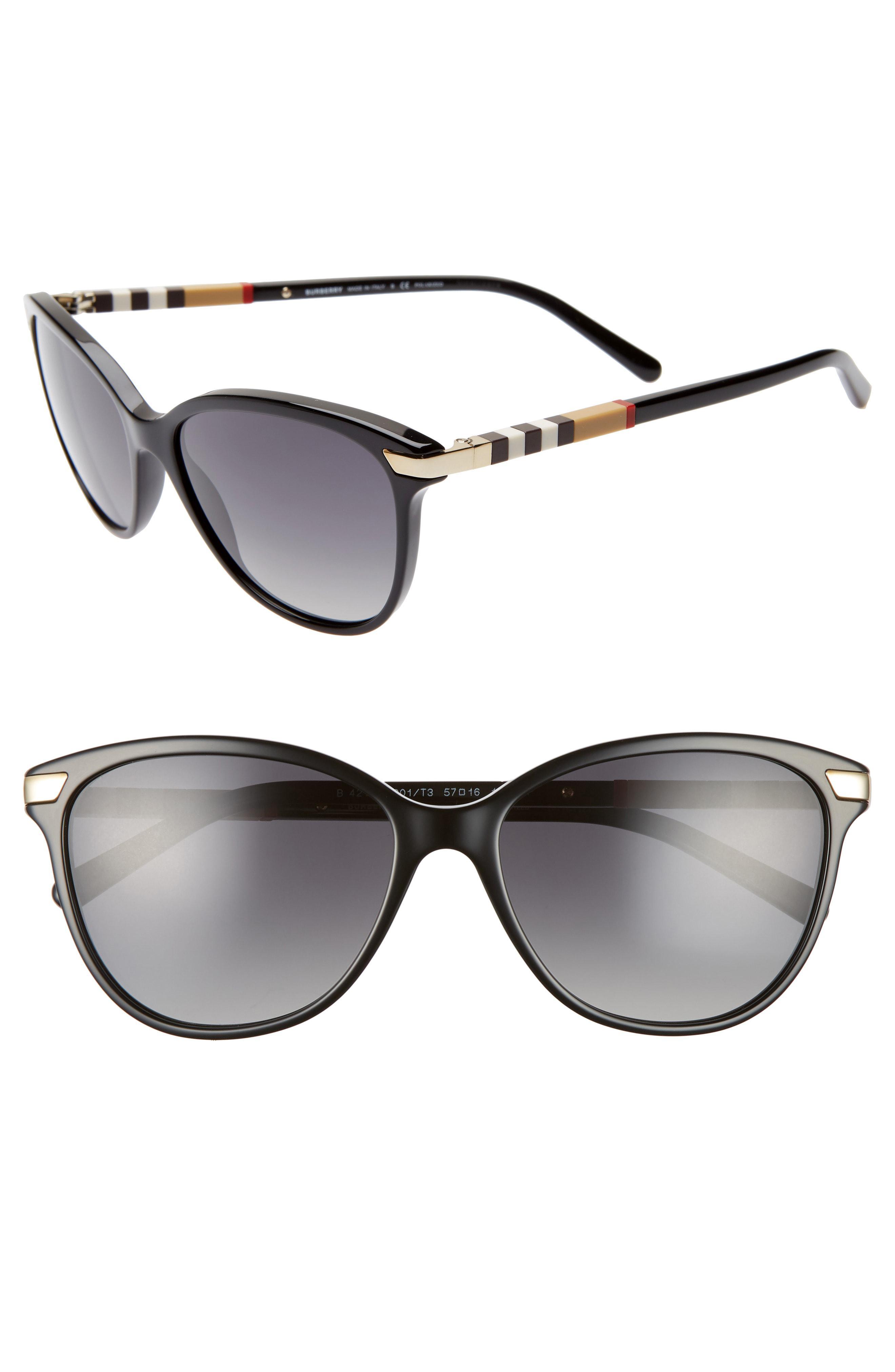 2597c8bf997 Burberry. Women s Black Check 57mm Polarized Gradient Cat Eye Sunglasses