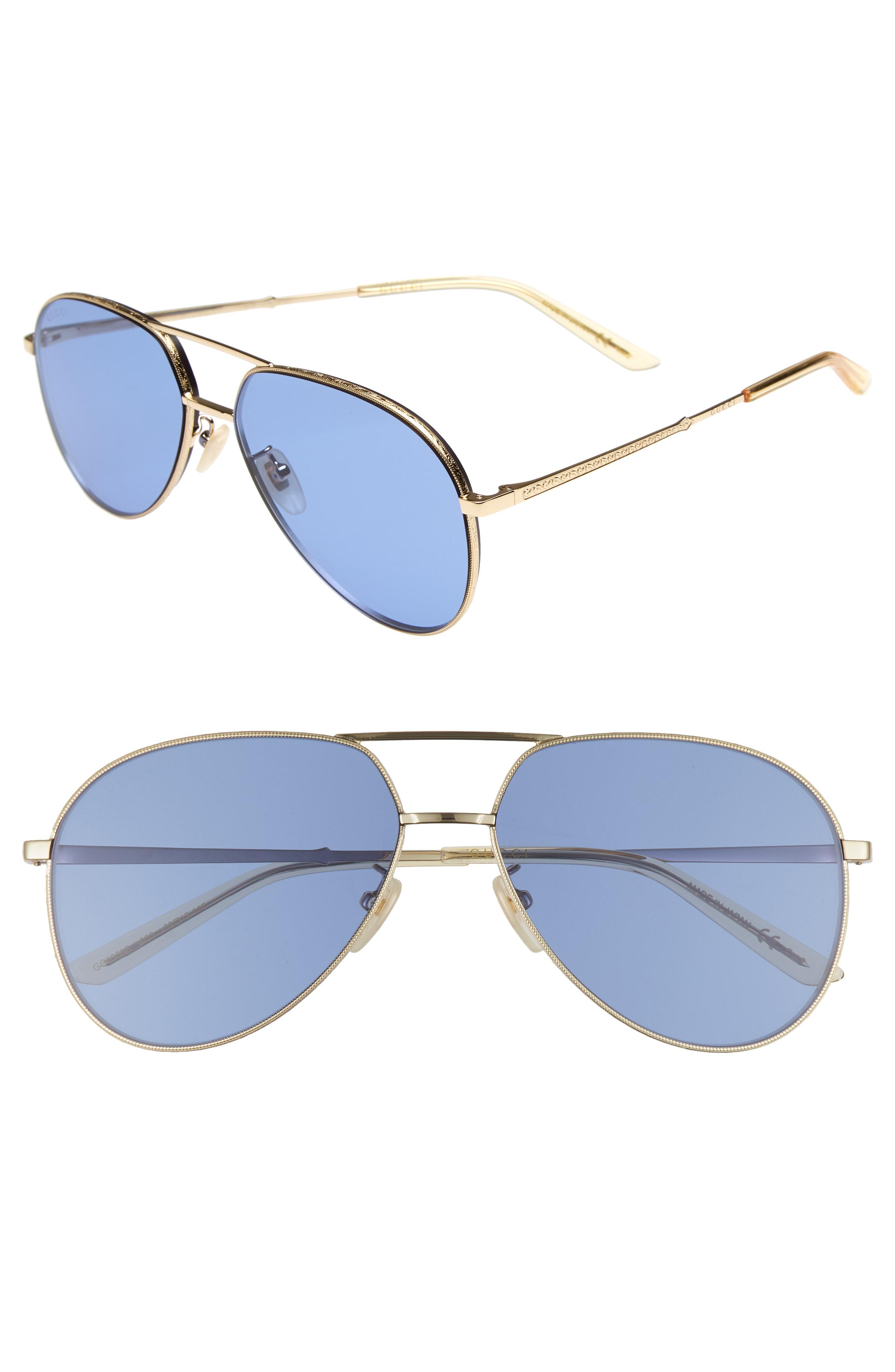 75d89772395 Lyst - Gucci 59mm Aviator Sunglasses - in Blue for Men