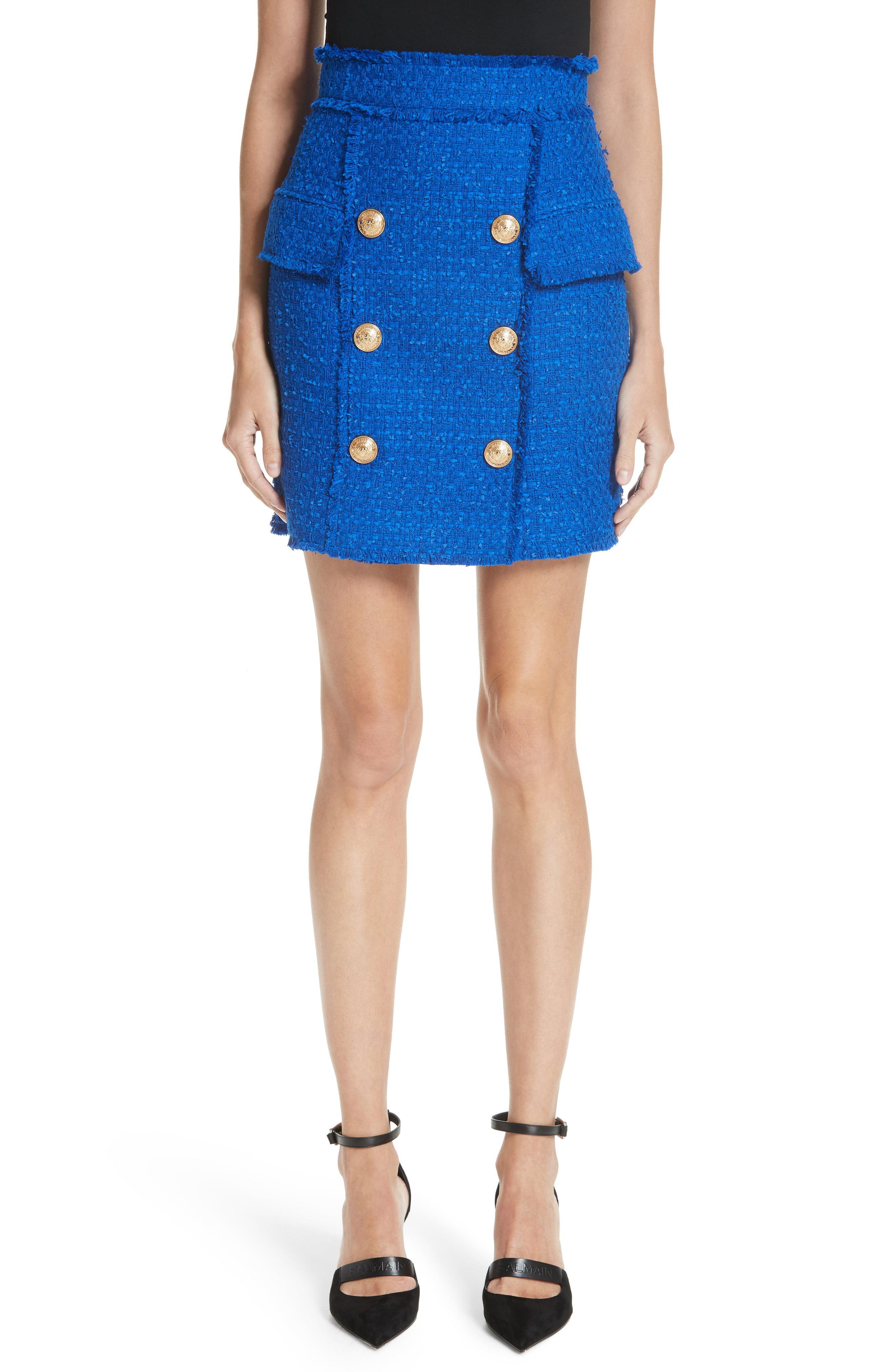 24b098d1b9 Lyst - Balmain Button Detail Tweed Miniskirt in Blue
