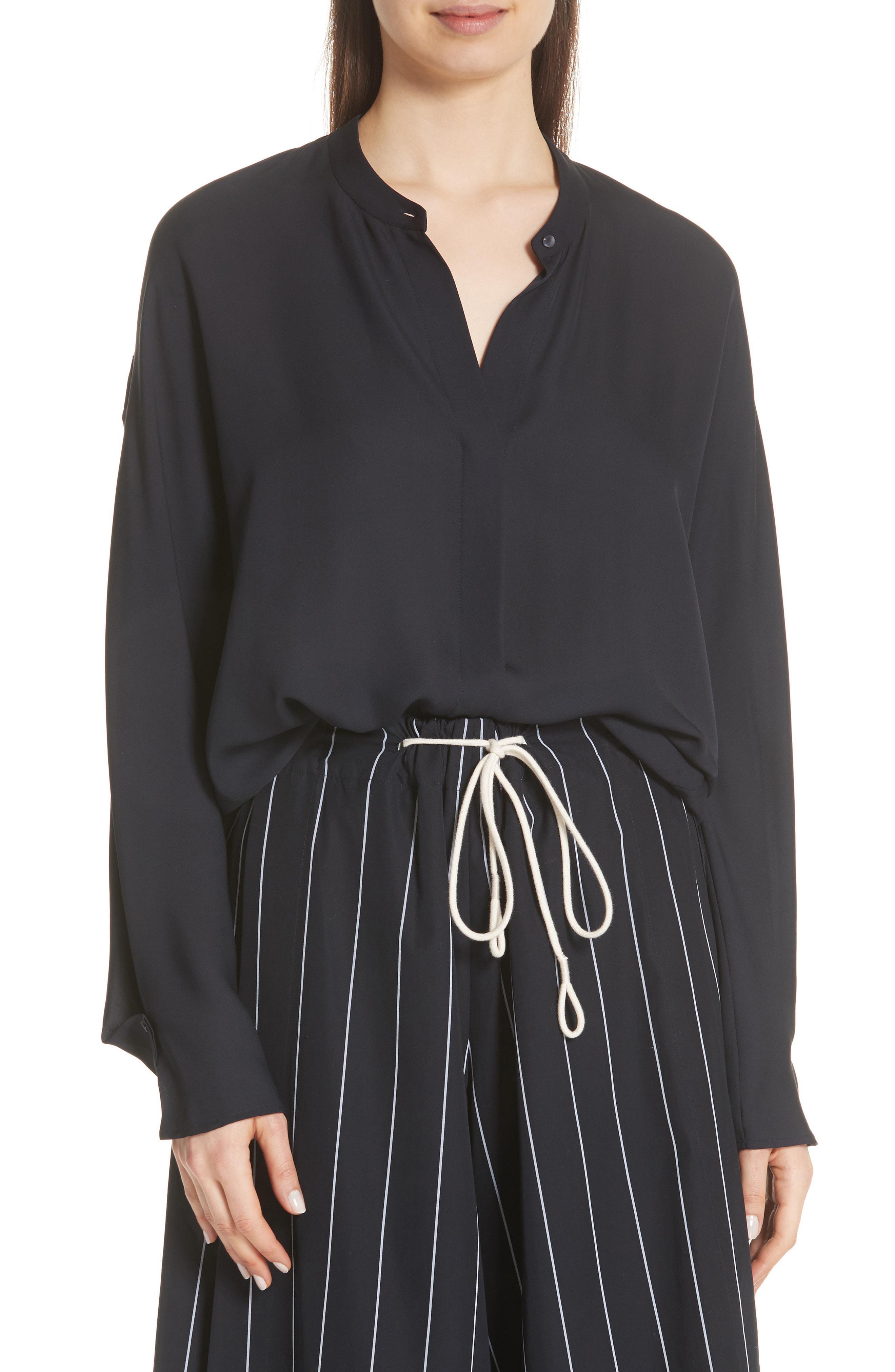 b96f0d9fd1502 Lyst - Vince Envelope Sleeve Silk Blouse in Black