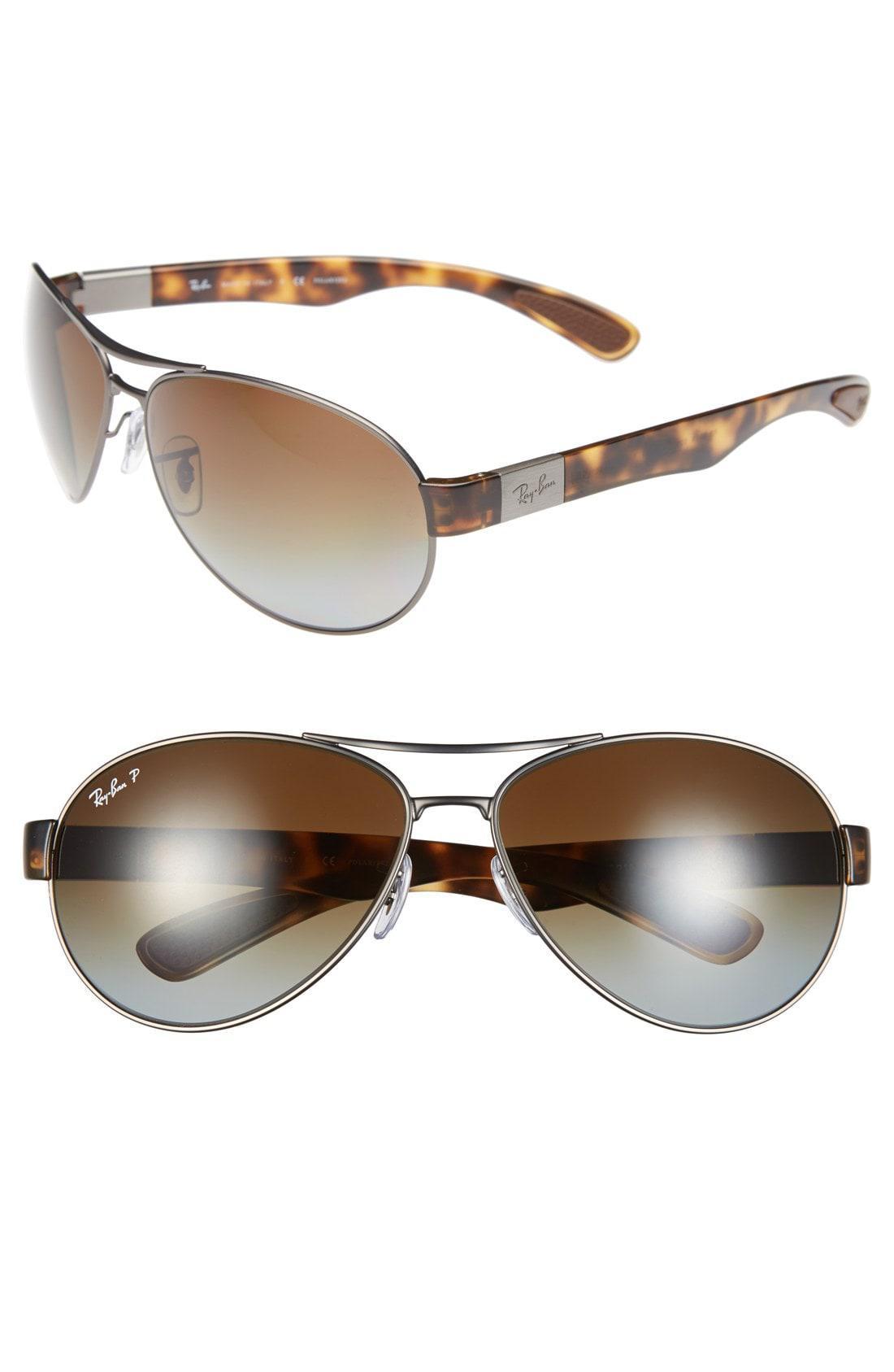 6862ff2259b Lyst - Ray-Ban 66mm Aviator Sunglasses - Gunmetal  Brown Gradient in ...