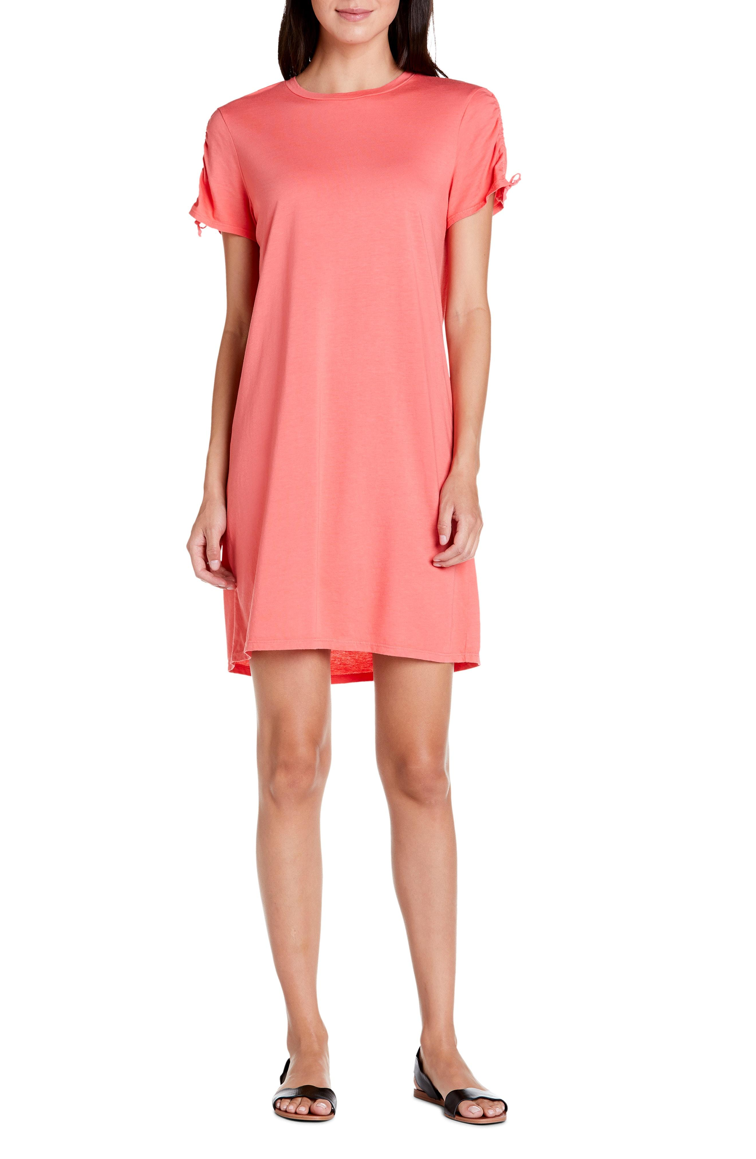 c6d012a051fc Lyst - Michael Stars Zoie Ruched Sleeve T-shirt Dress in Pink