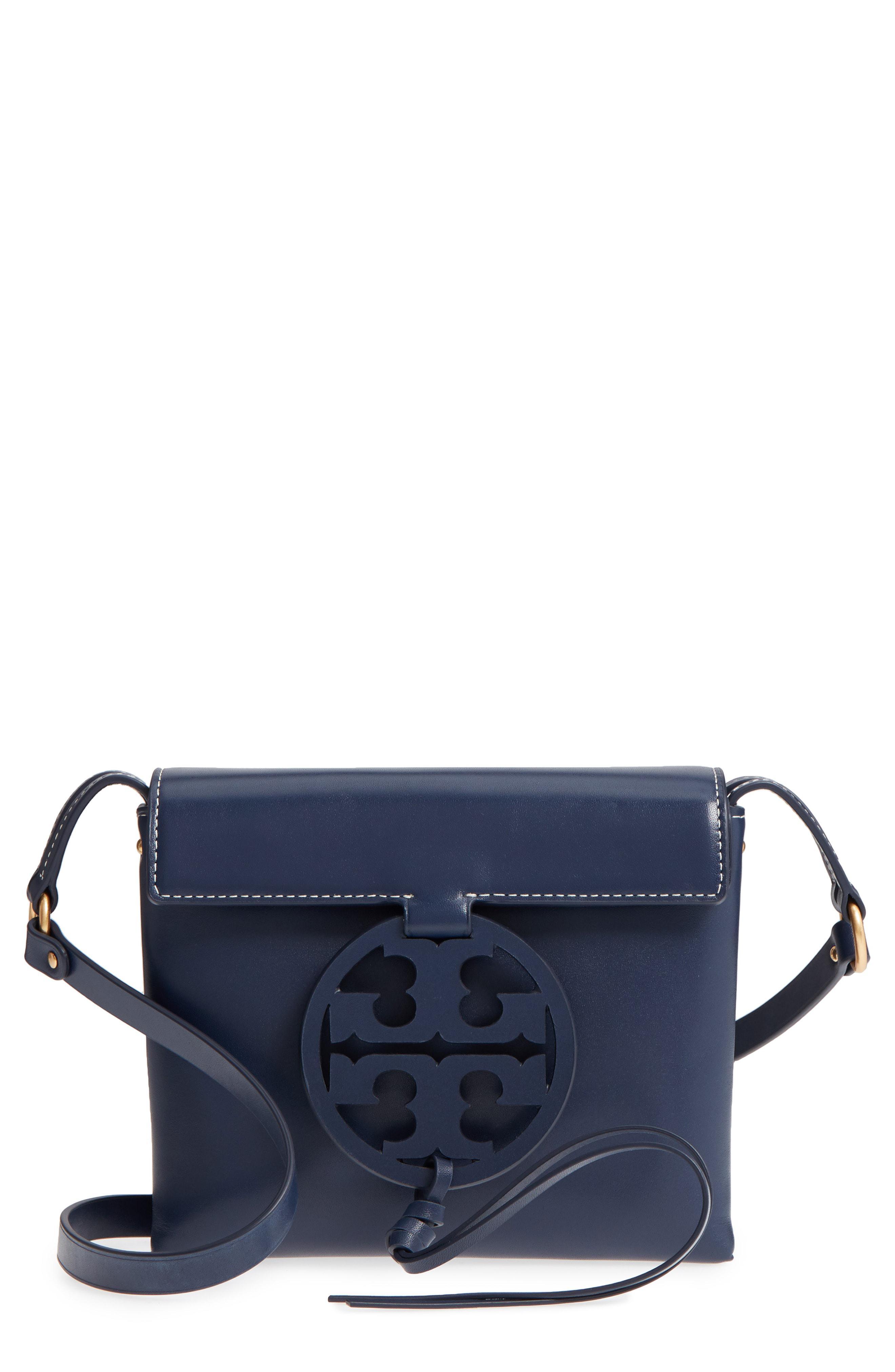 d83eadf1dd4c17 Lyst - Tory Burch Miller Leather Crossbody Bag in Blue - Save ...