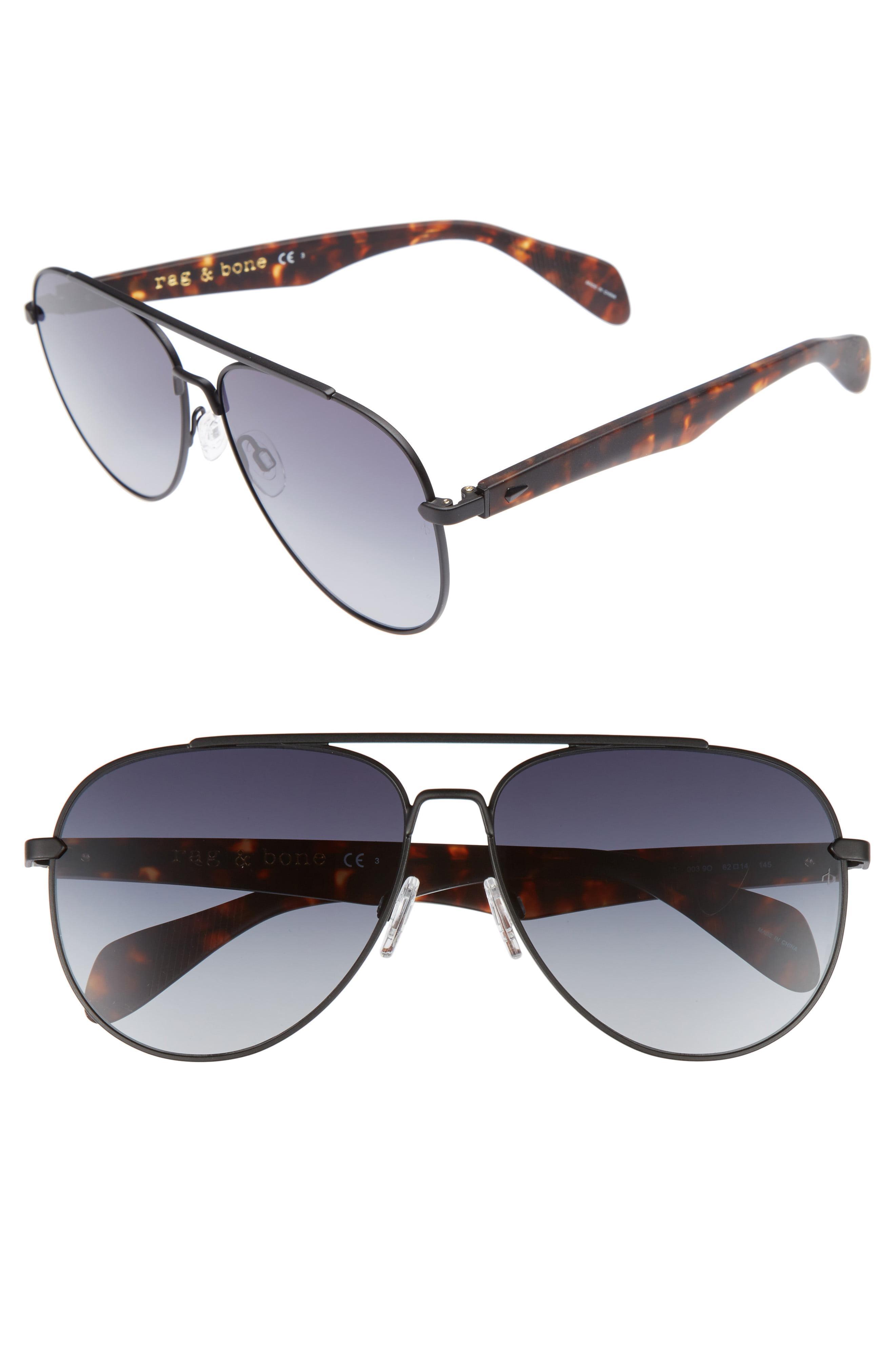 12507e815177b Lyst - Rag   Bone 62mm Aviator Sunglasses - in Metallic for Men