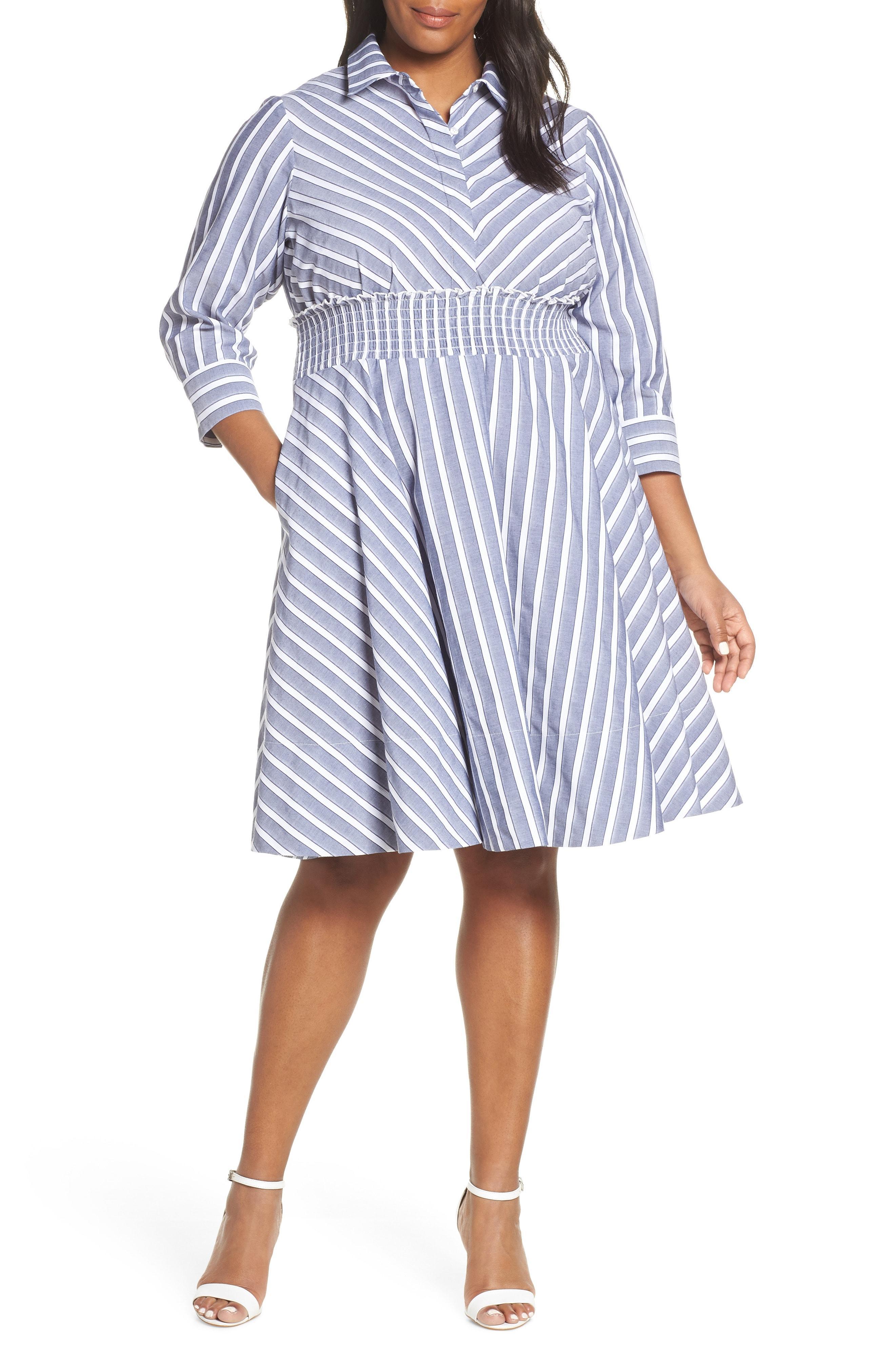9d1e7deabeea Lyst - Eliza J Stripe Smocked Waist Shirtdress in Blue