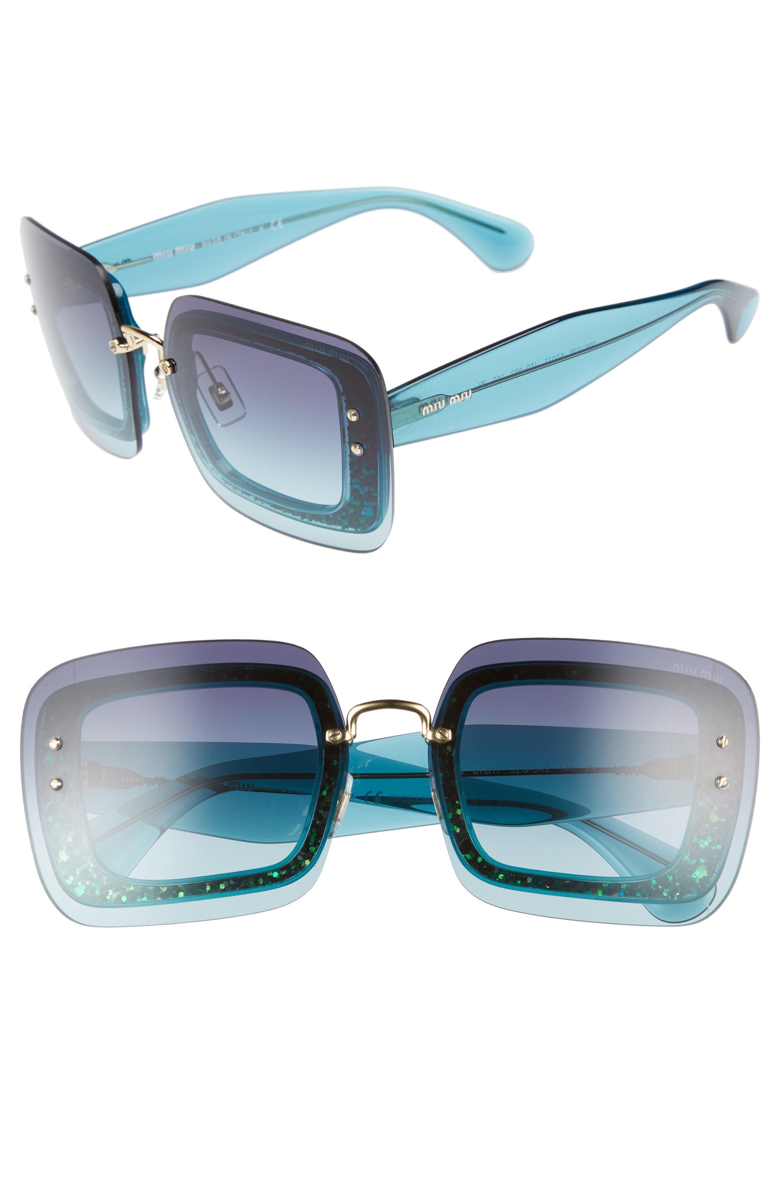 87477653a5 Lyst - Miu Miu 67mm Square Sunglasses - Turquoise Gradient in Blue