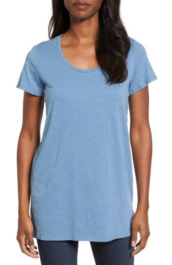 Lyst eileen fisher u neck organic cotton tee in blue for Eileen fisher organic cotton t shirt