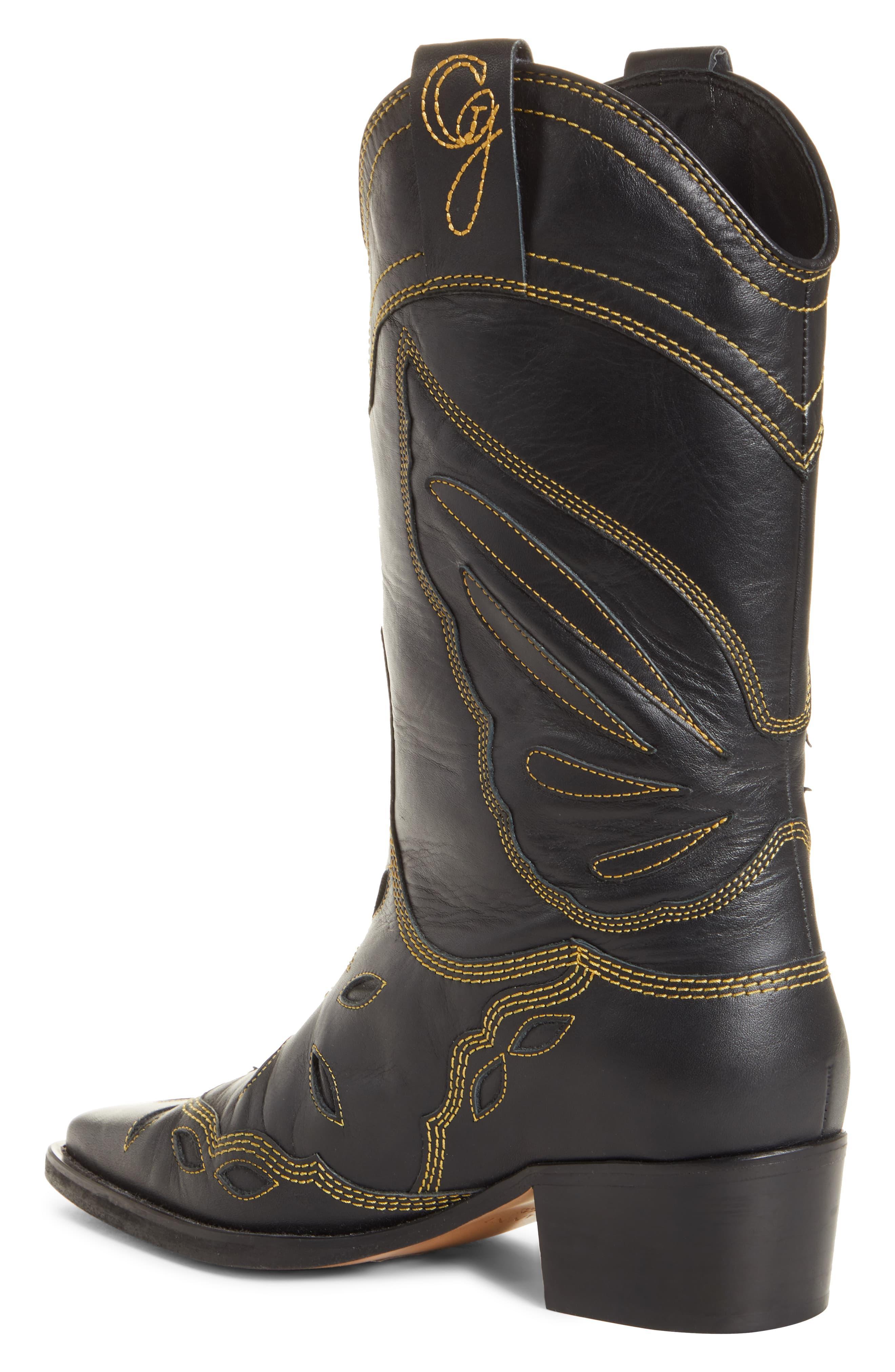 4f31b41aeb0 Ganni Texas Tall Western Boot in Black - Lyst