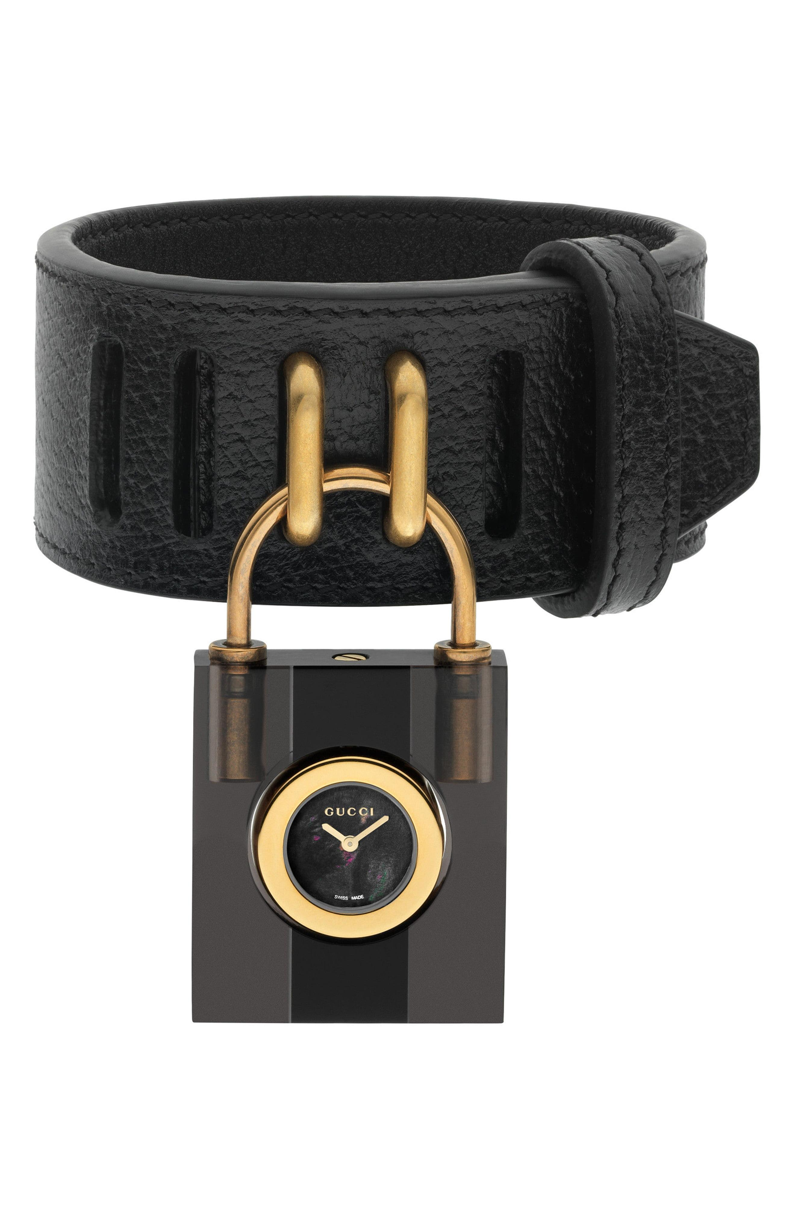 130fd865339 Gucci - Black Twirl Small Leather Strap Padlock Watch - Lyst. View  fullscreen